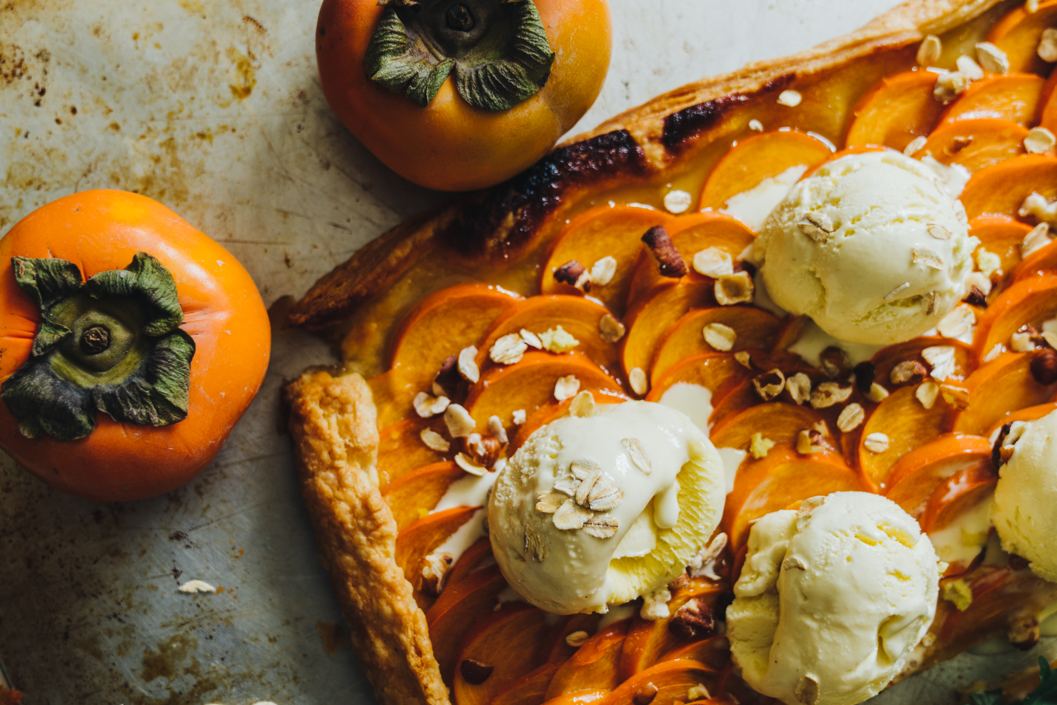 FOOD AND FLOWERS: ONE PERSIMMON TART TWO WAYS: DESSERT AND SAVORY MAIN DISH