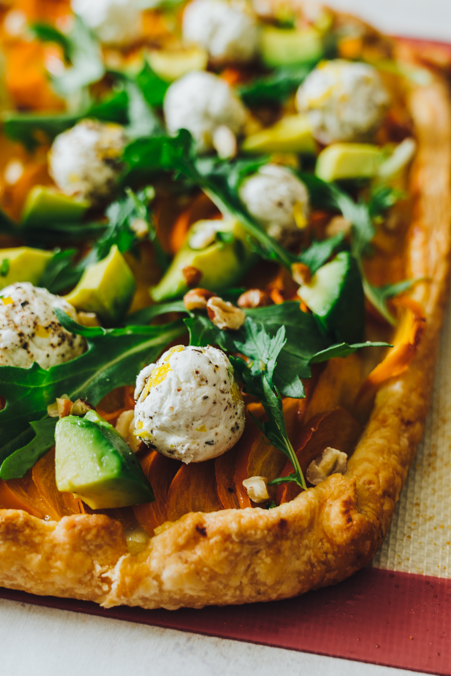 savory persimmon tart with avocado