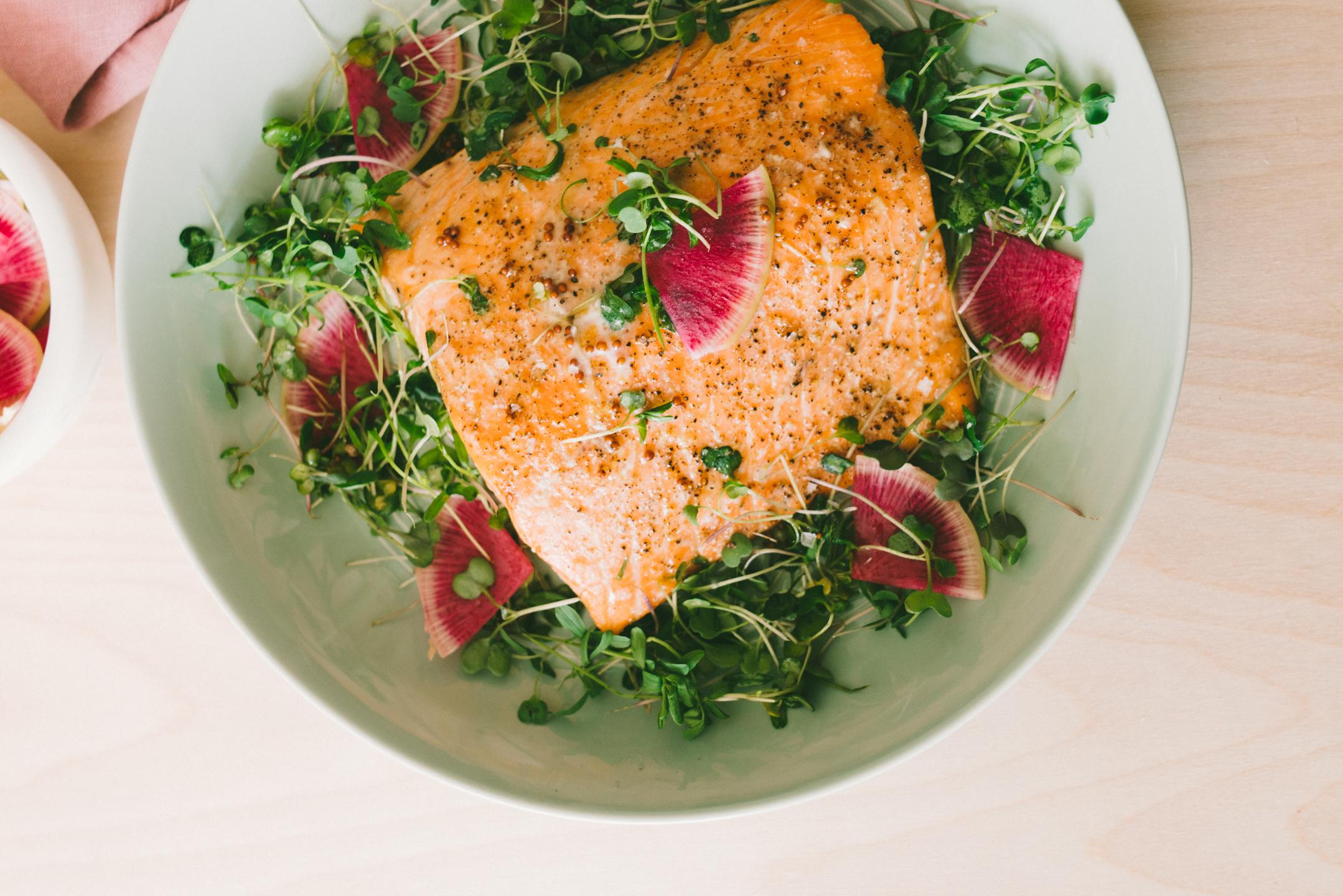 microgreen and salmon salad