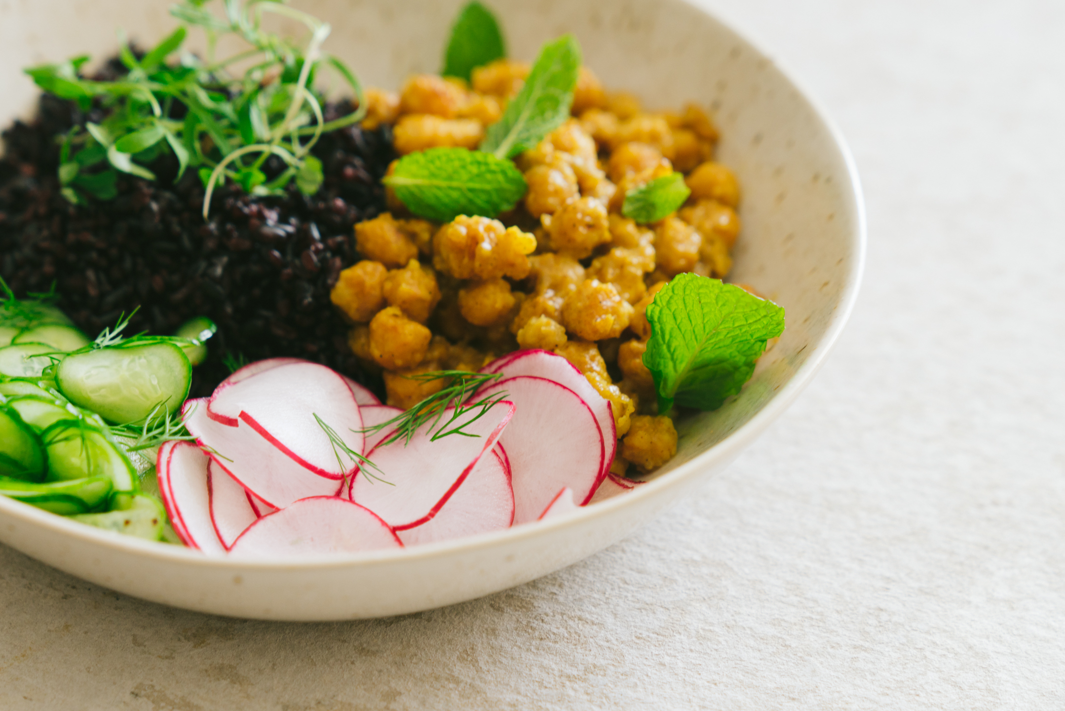 curry chickpea nourish bowl with black rice