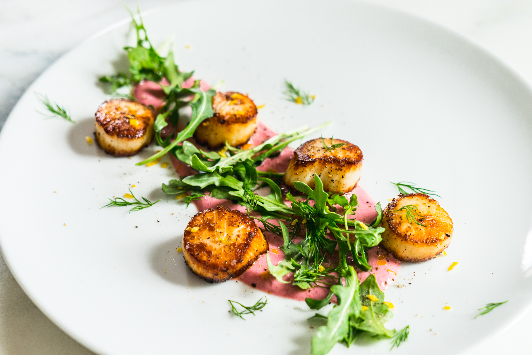 Pan Seared Scallops with Creamy Lemon Beet Purée