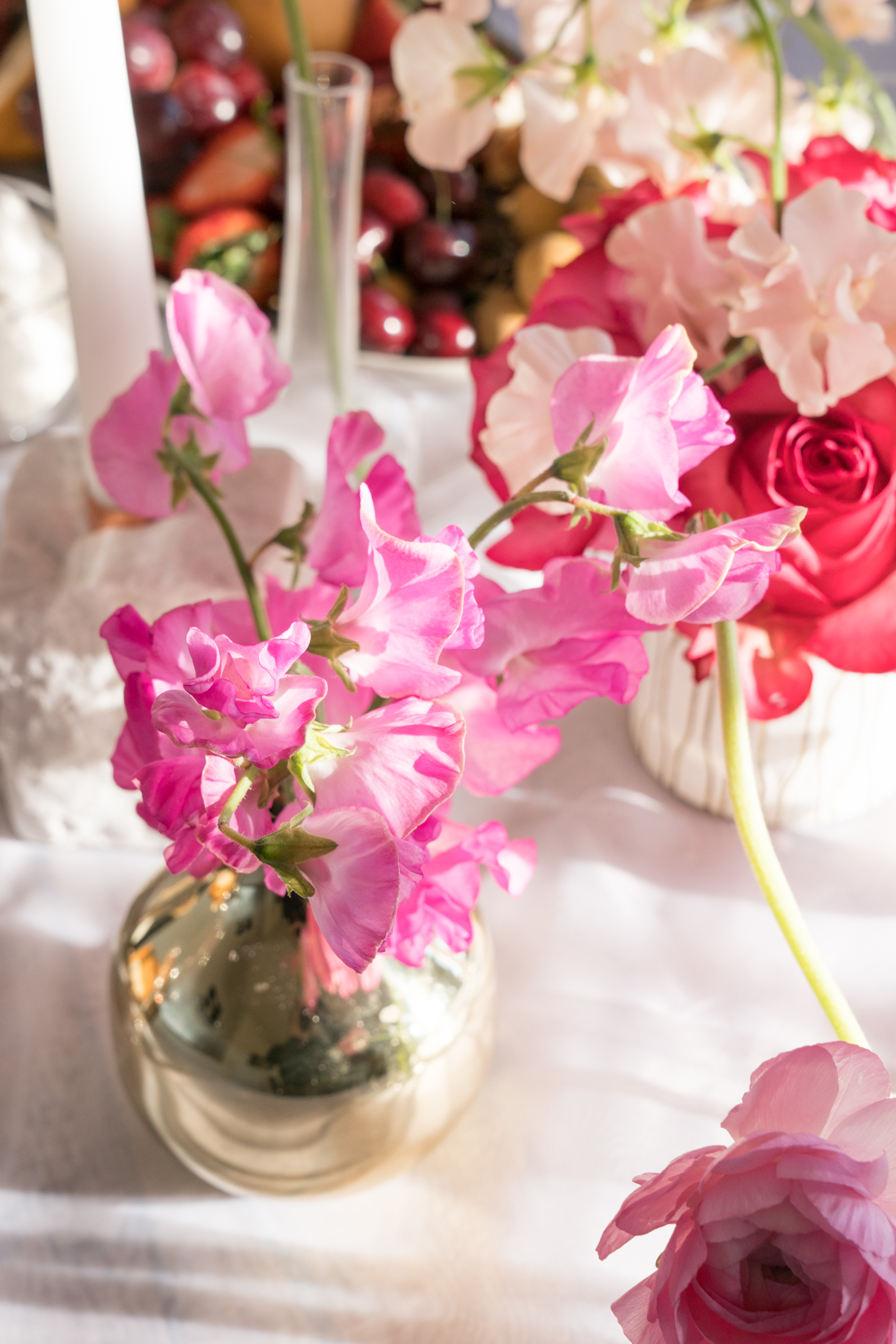 Pinks and Reds Food and Flowers Tablescape: Valentines Day