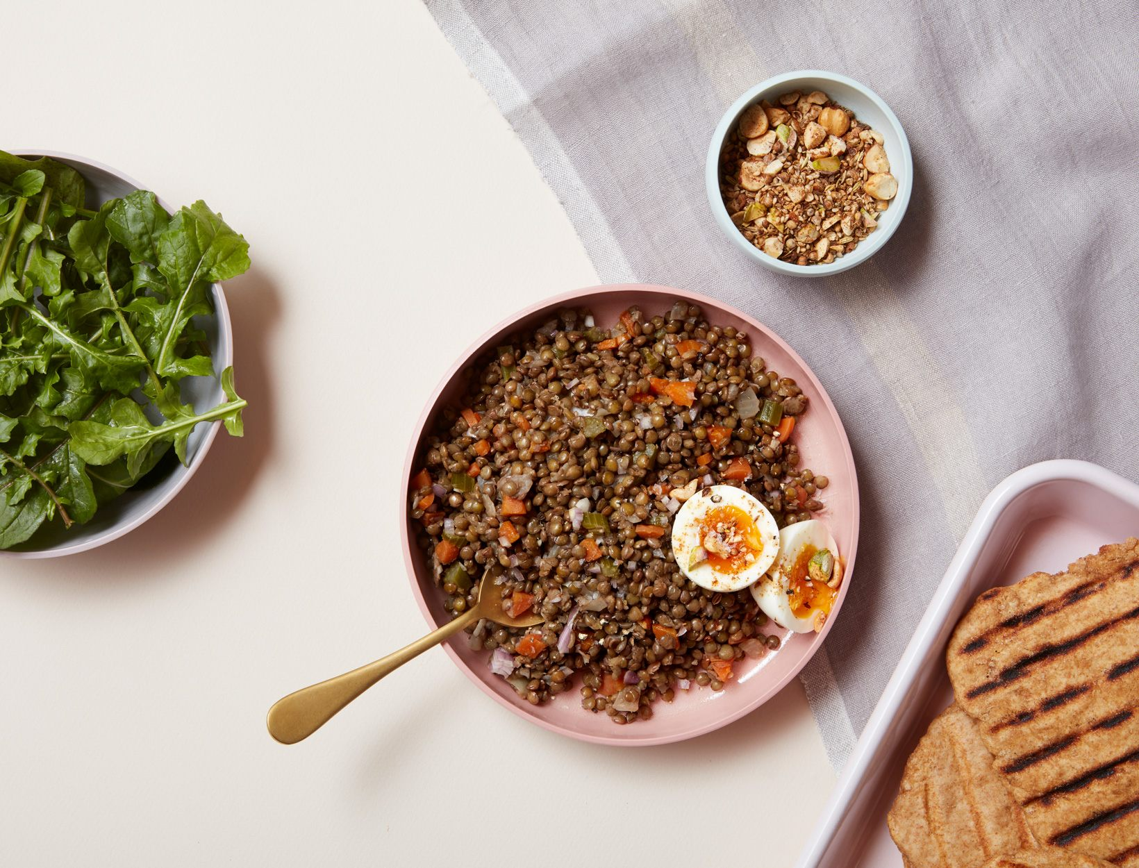 Make the Dukkah Spiced French Lentils with Soft Eggs and Arugula.