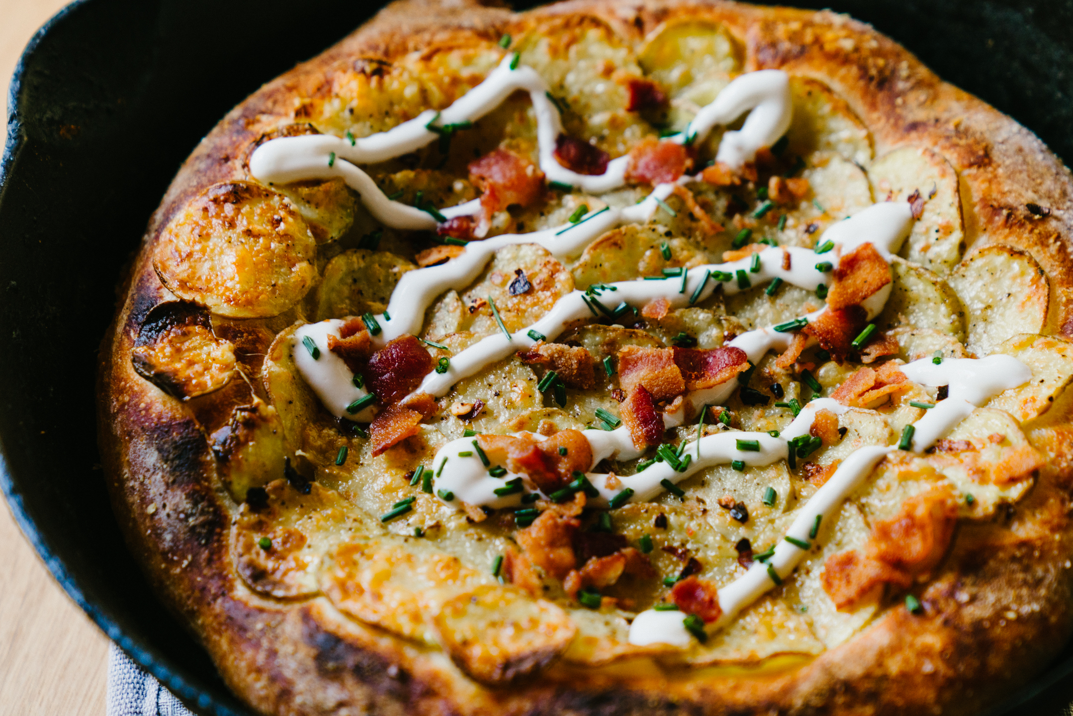 Cast Iron Skillet Perfect Baked Potato Pizza