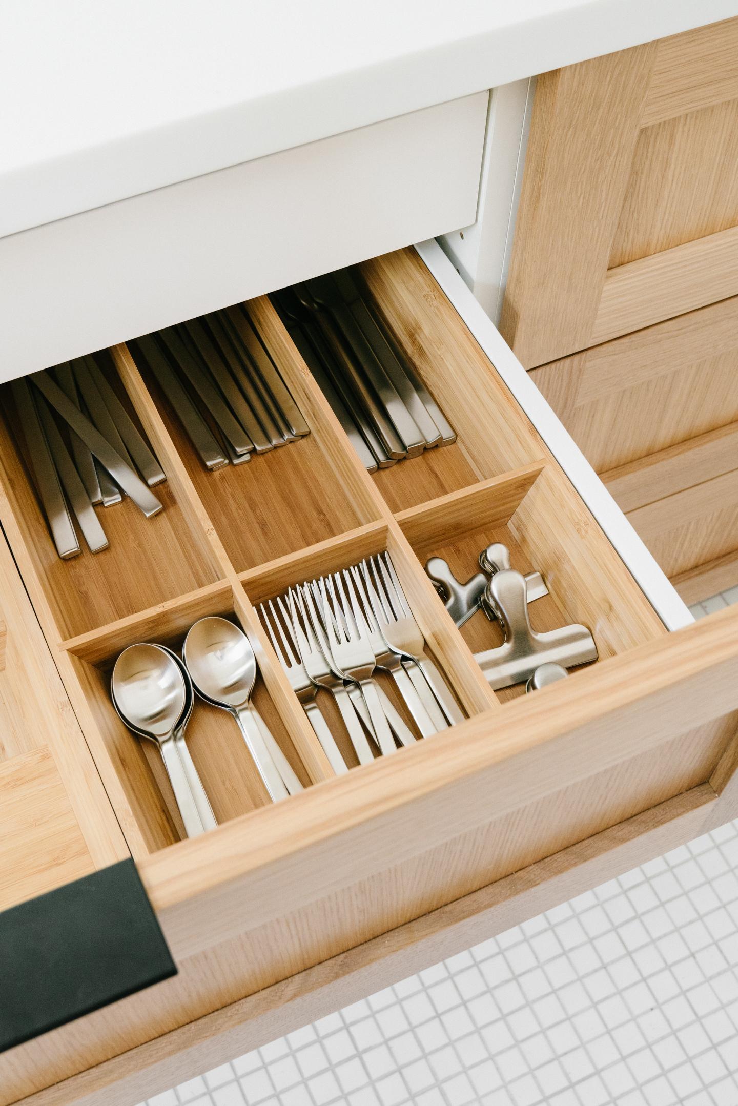 minimalist organized flatware drawer