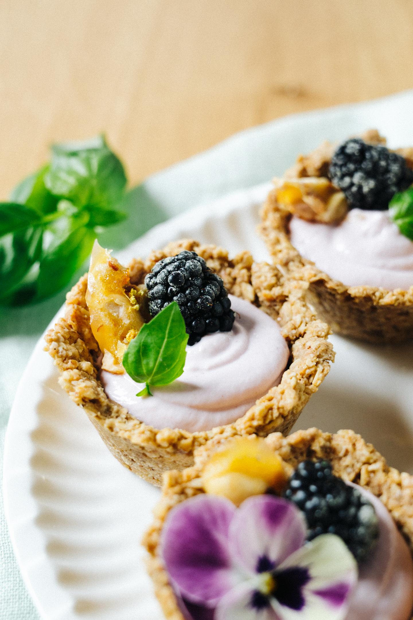 Mini Blackberry Cheesecake Tarts with Walnut Crust
