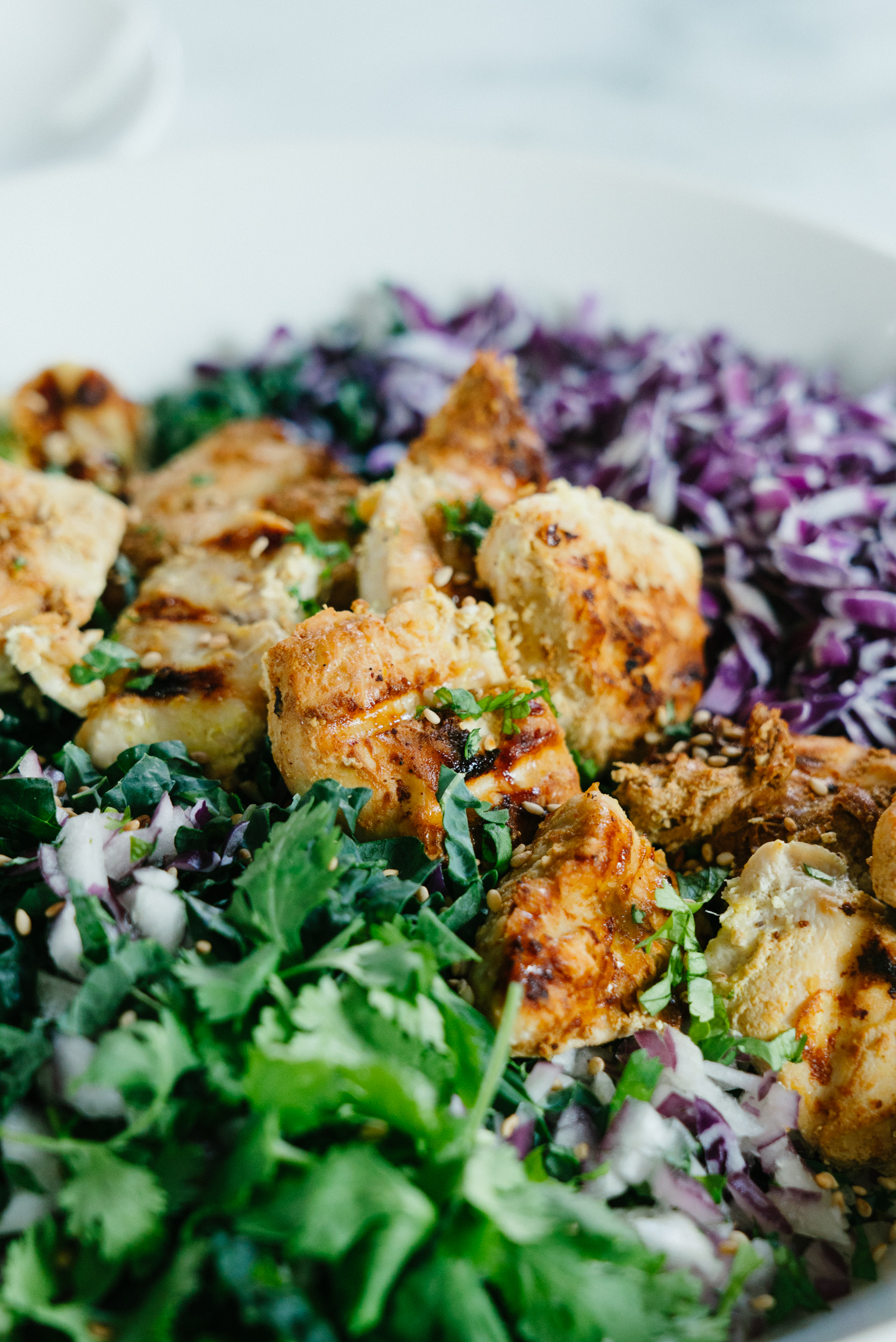 Grilled Honey Yogurt Chicken Over Cabbage Kale Salad