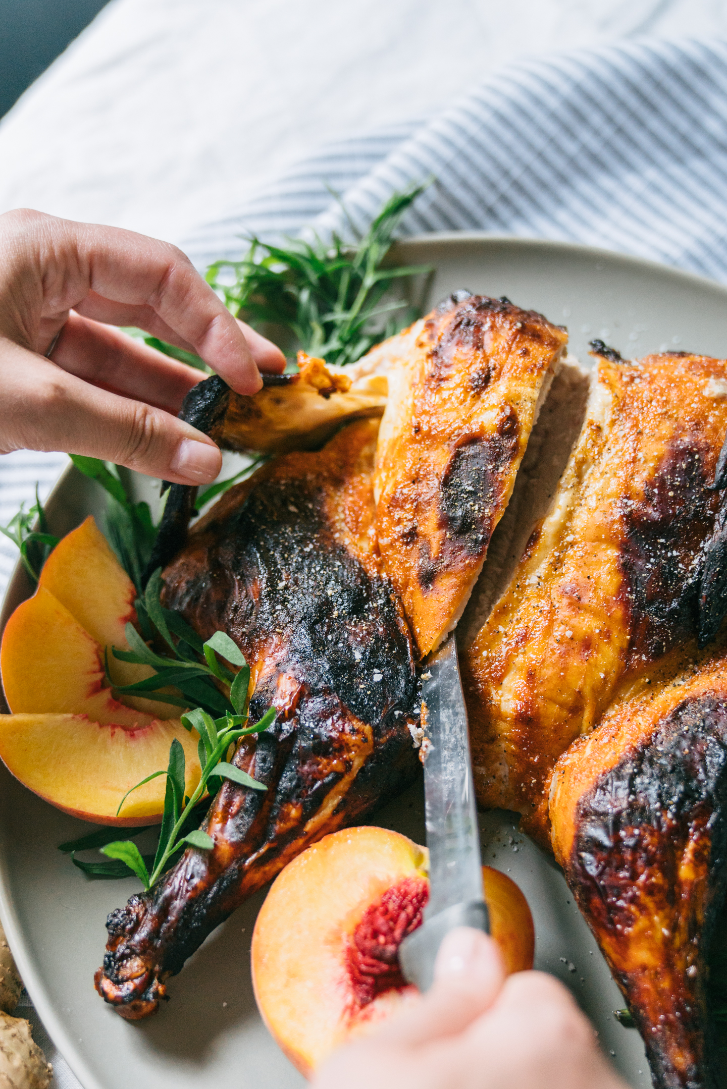 Spiced Spatchcock Chicken with Peach BBQ Sauce