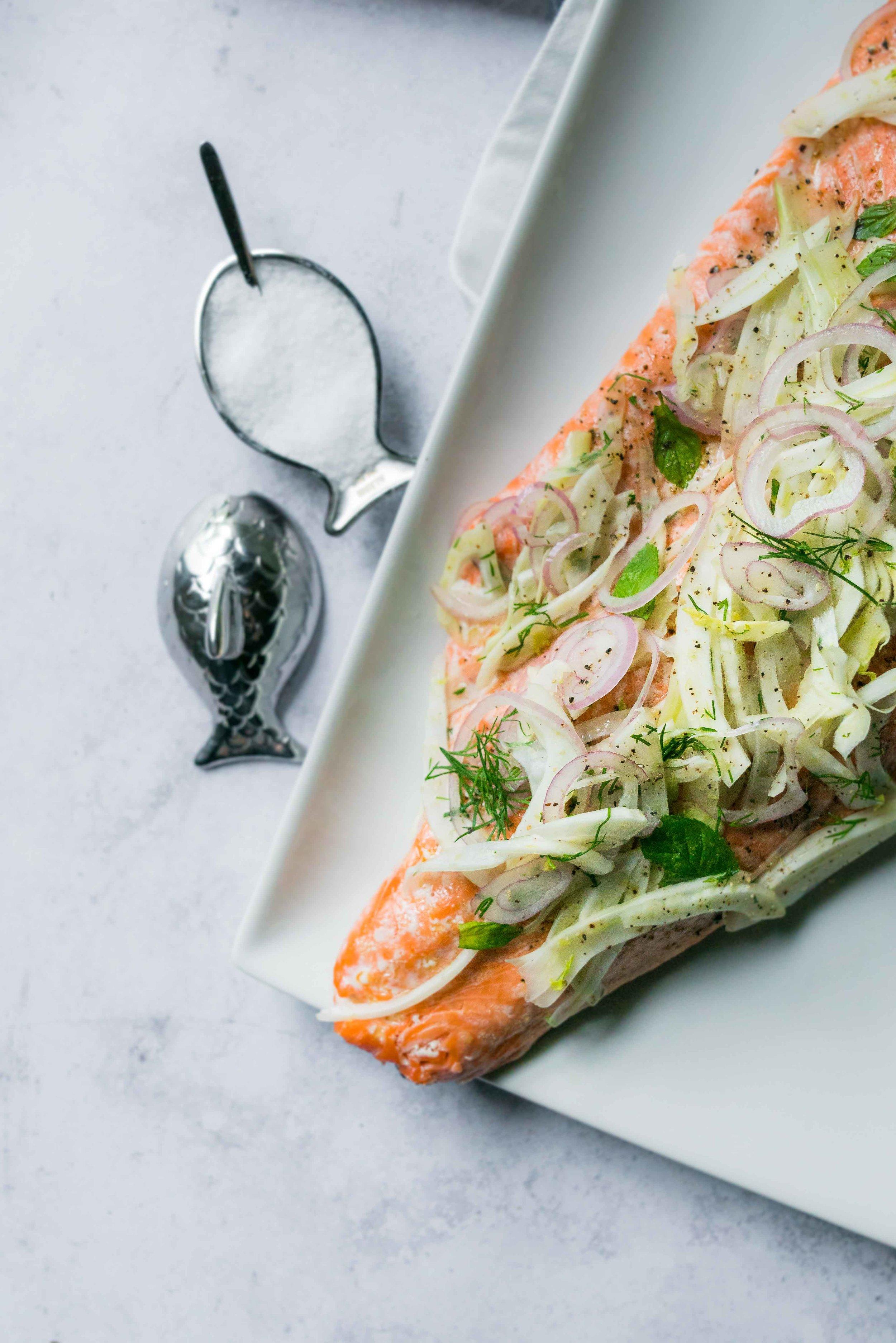 Shaved Fennel Herb Salad over Salmon