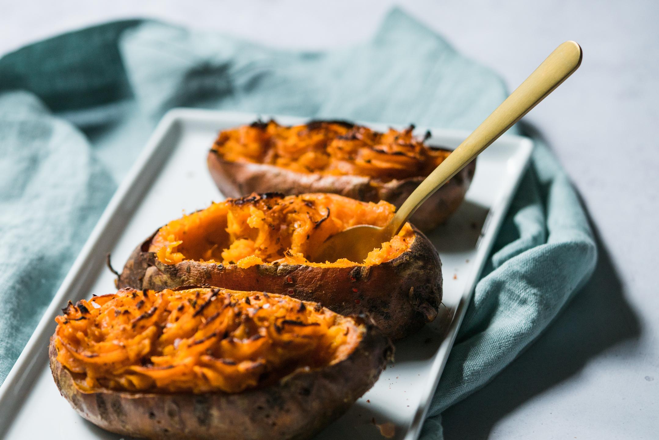 Twice Baked Harissa Sweet Potatoes