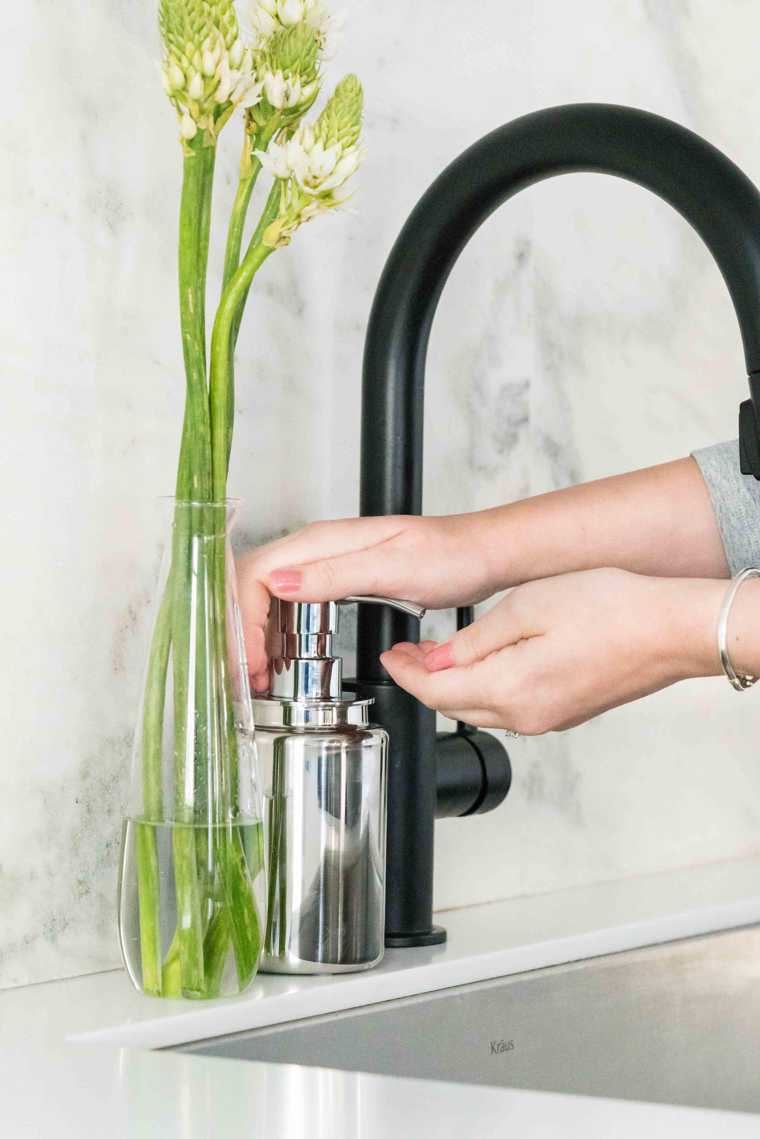 hand washing, marble modern kitchen