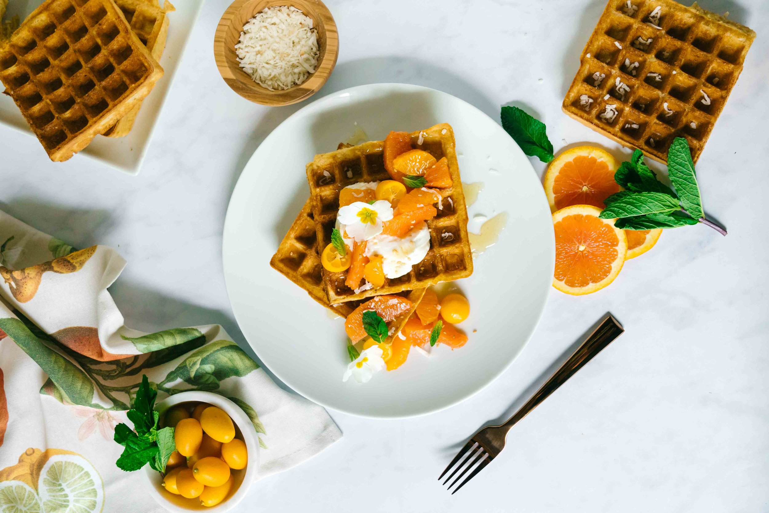 Whole Wheat Winter Citrus Coconut Waffles