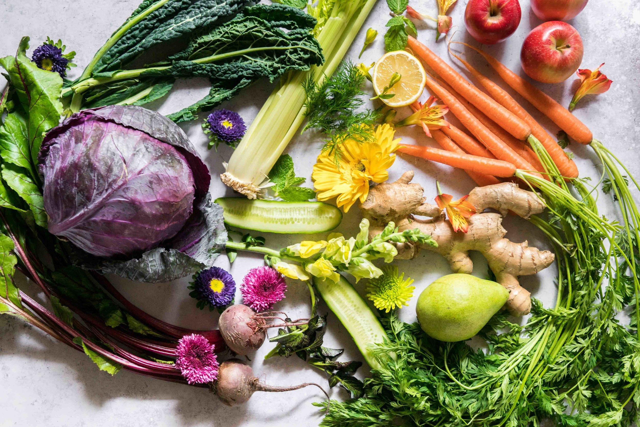 zero waste juicing recipes- rainbow produce and flowers