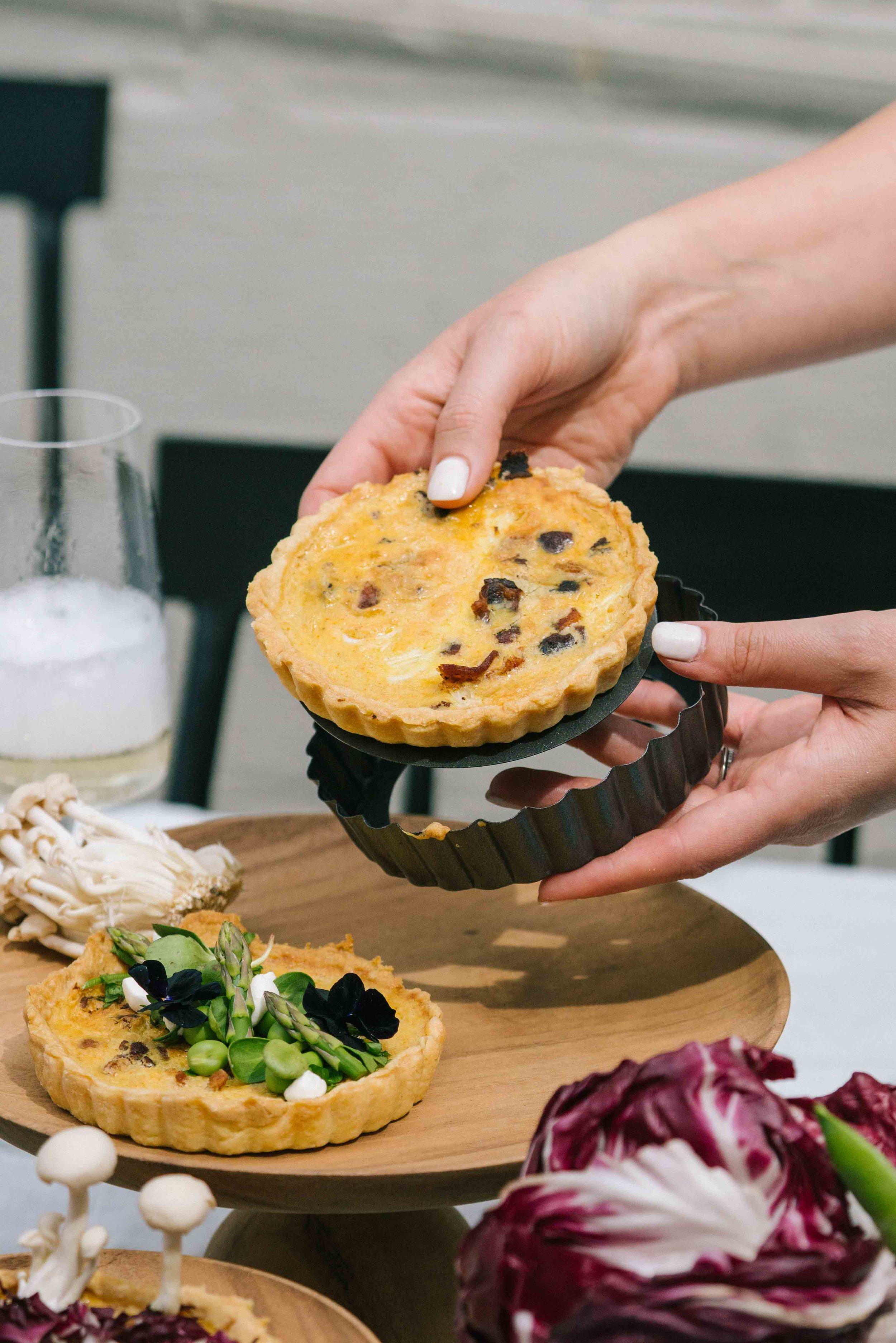 how to make no stick quiches, spring miso quiche recipe