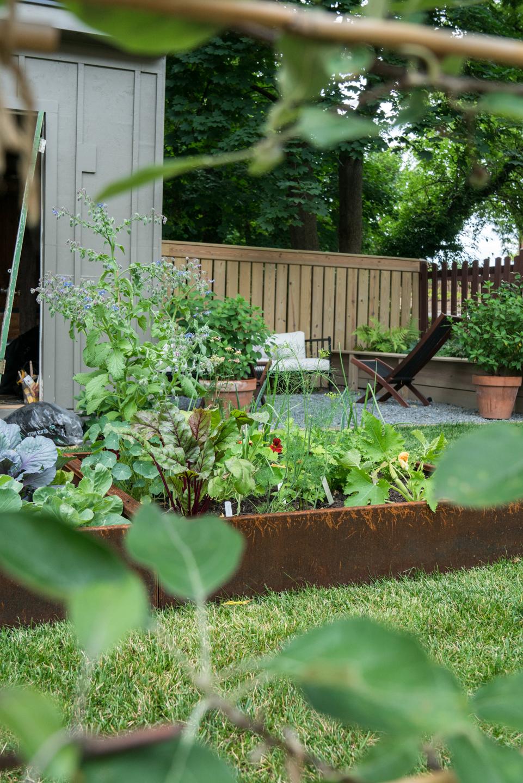 corten steel raised bed kitchen garden