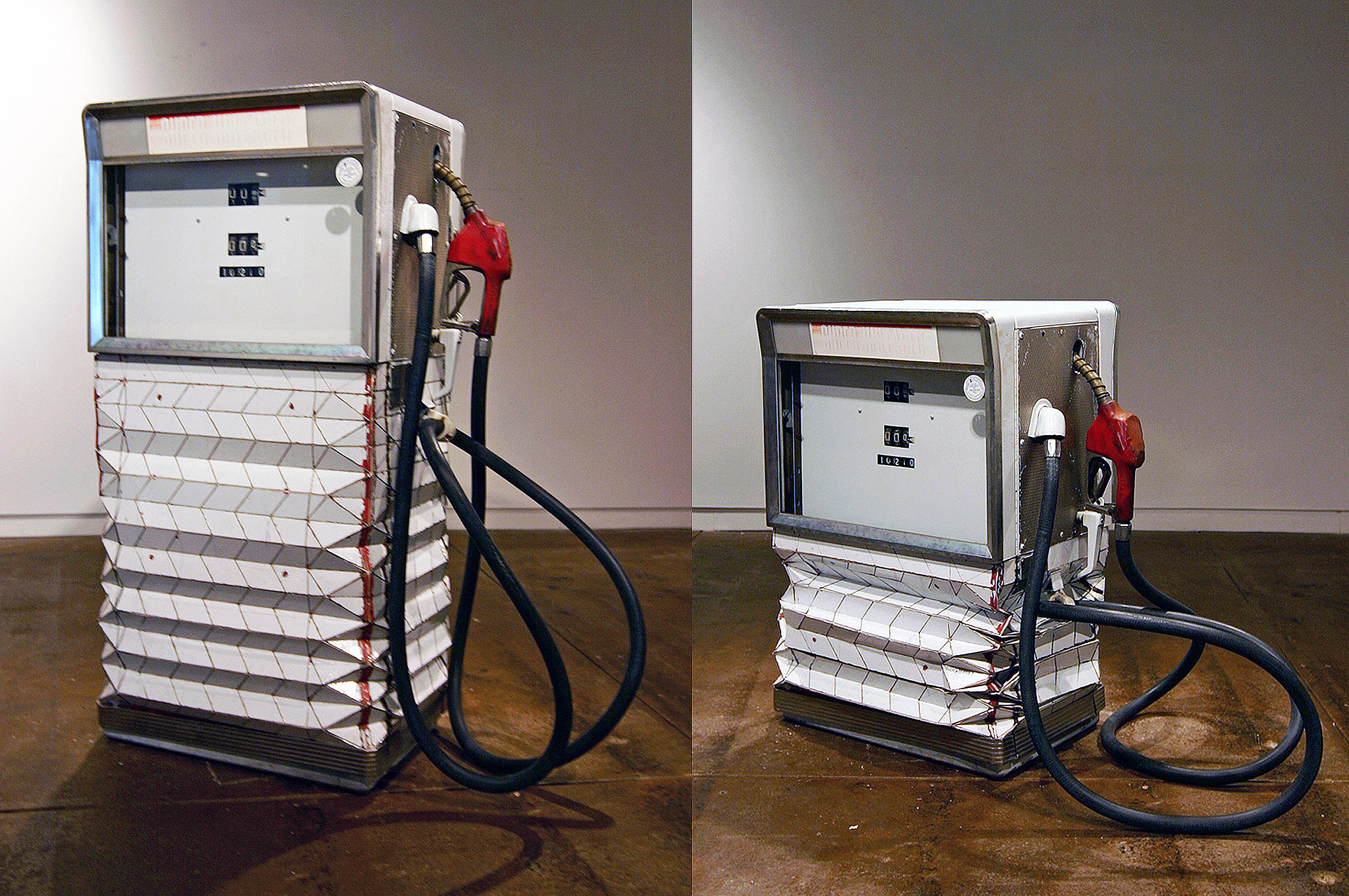 """Gas Pump, 2010, 1960s gas pump, linear actuator, height variable 22 """" wide 16 """" long."""