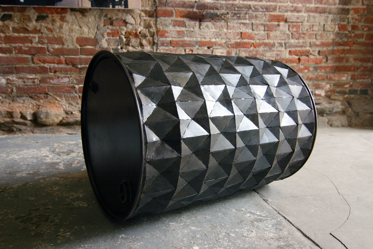 "Barrel, 2011, industrial steel barrel, 34"" tall 26"" in diameter."