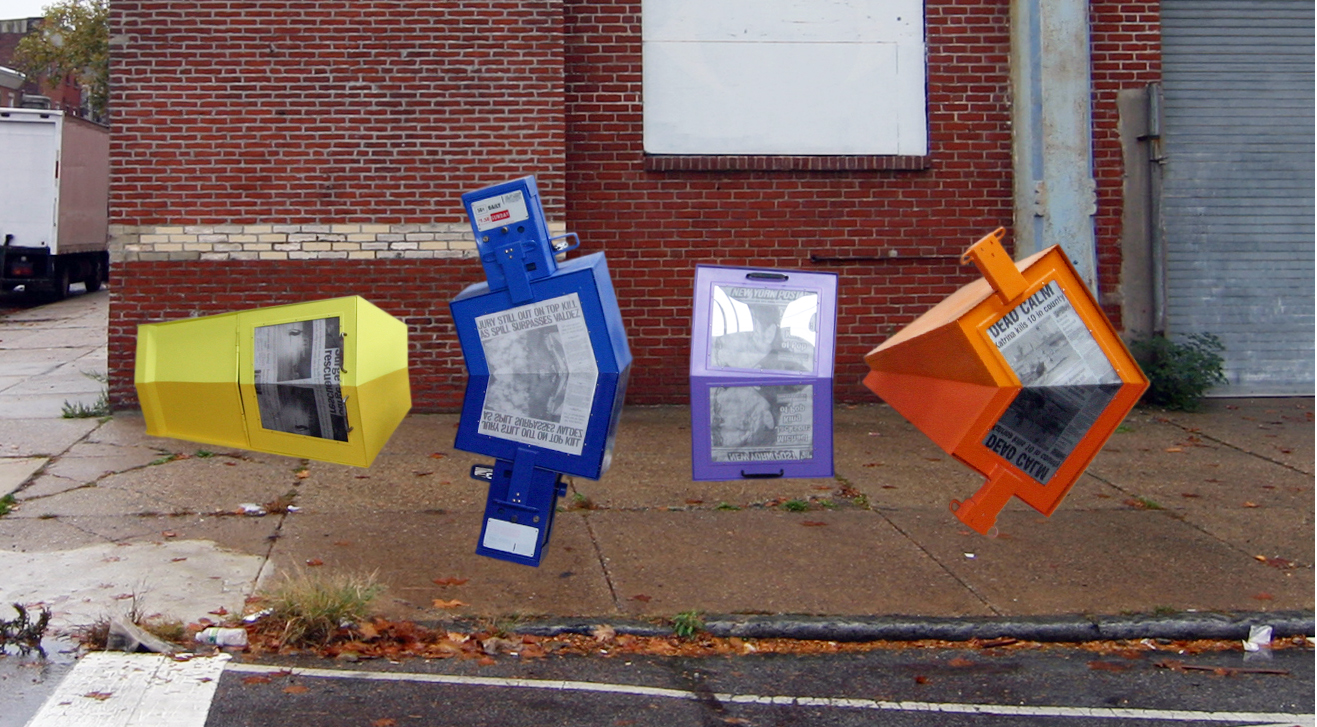 Honor Boxes,  2012, two steel newspaper boxes, digitally rendered newspaper pages, various sizes.