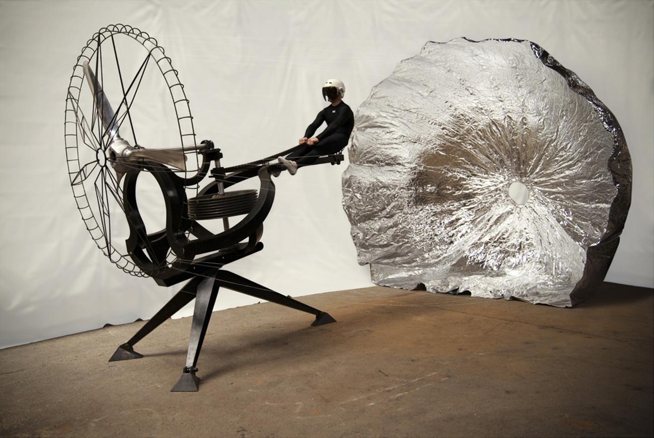 Icarus, 2009, steel, aluminum, Mylar, 13' tall 13' wide 25' long