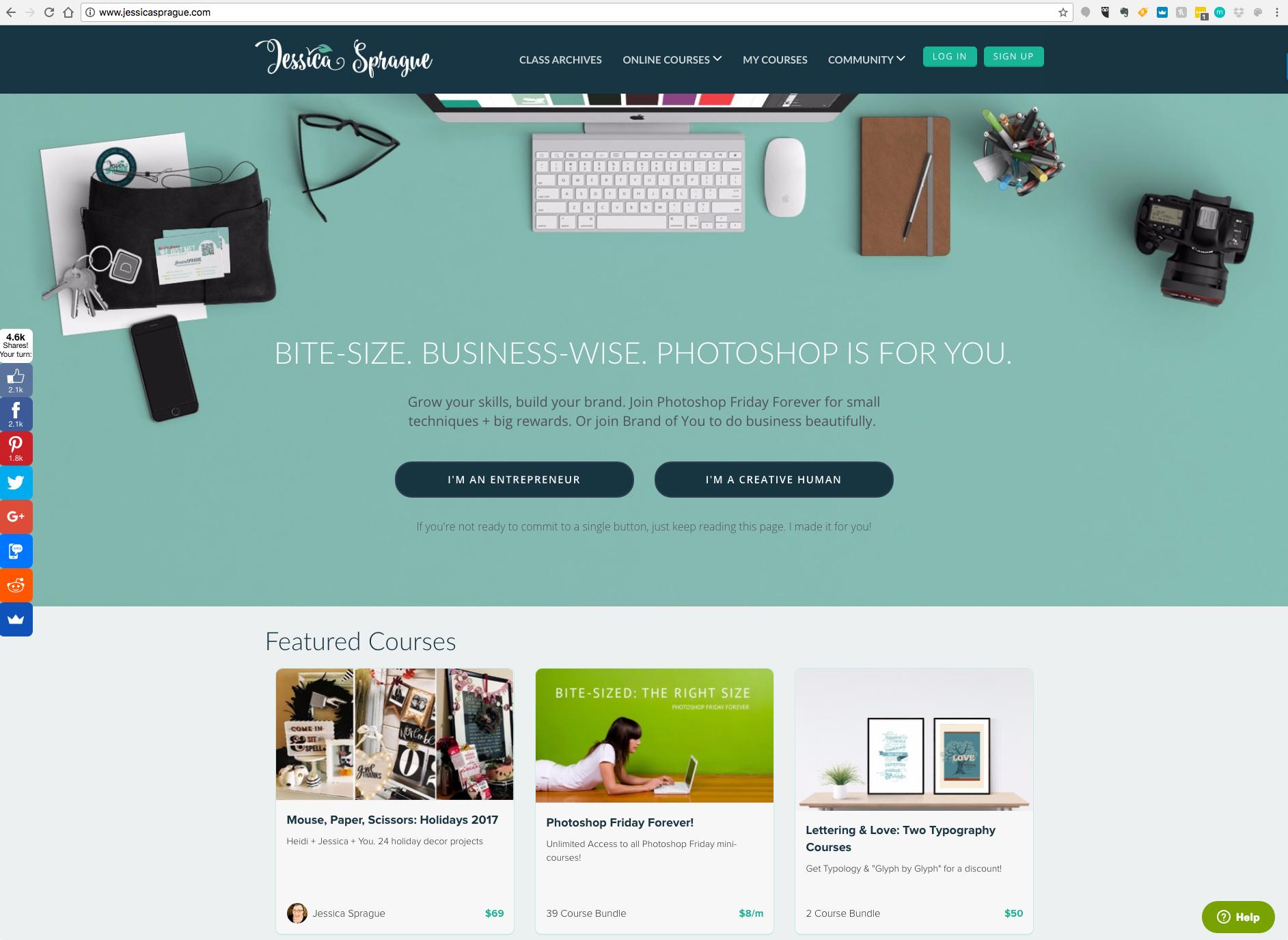 JessicaSprague.com Site Design, 2017