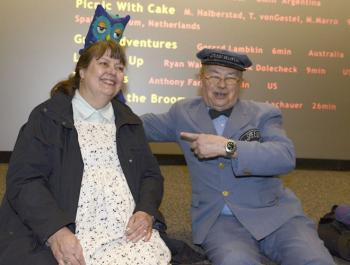 "Athens International Film + Video Festival Director Ruth Bradley gets a visit from ""Mr. Rogers' Neighborhood's"" Mr. McFeely during the 2013 festival."