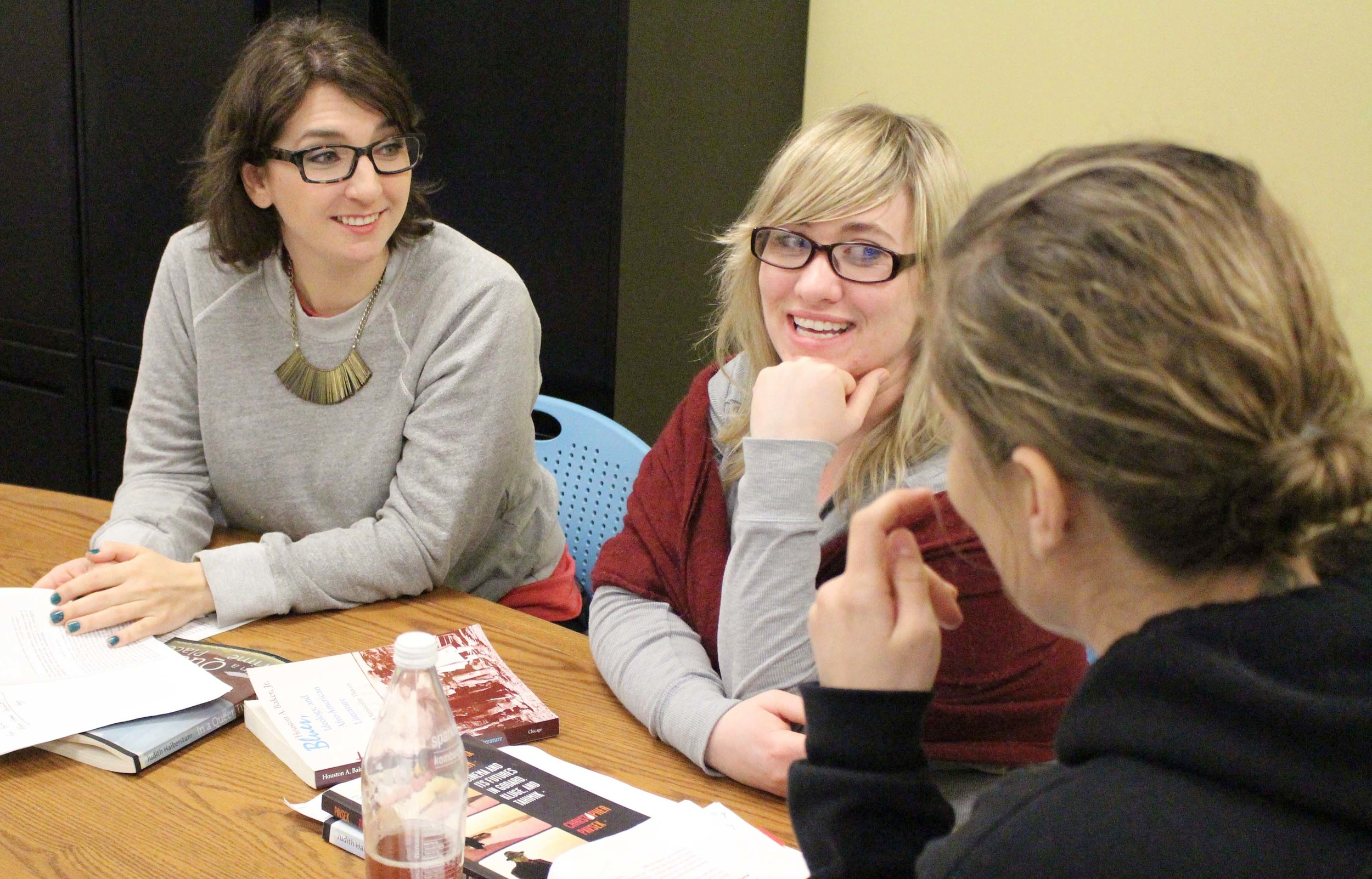 M.A. students Megan Pease, Stephanie MacDonell and Sophia Alioto discuss film theory after class