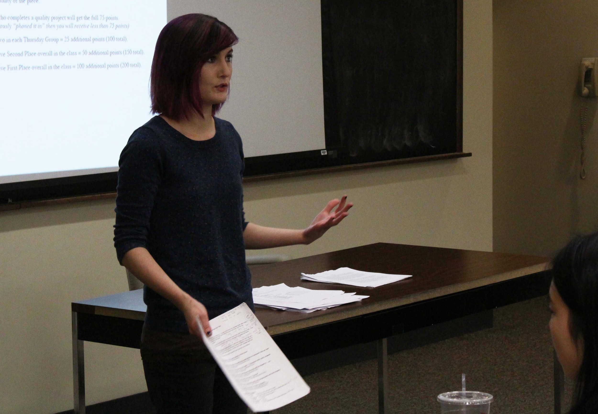 Mass Communication-Media Arts & Sciences Ph.D. student Steffi Shook leads an undergraduate class, Media and the Creative Process