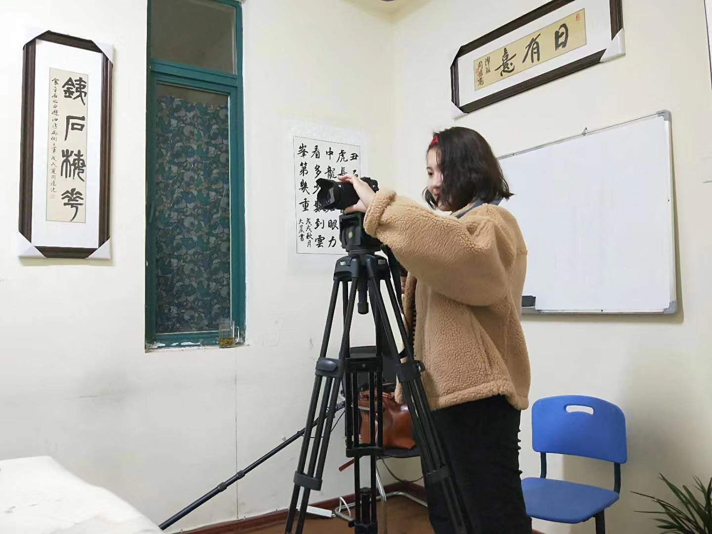 Eve Zhao on location shooting her documentary.