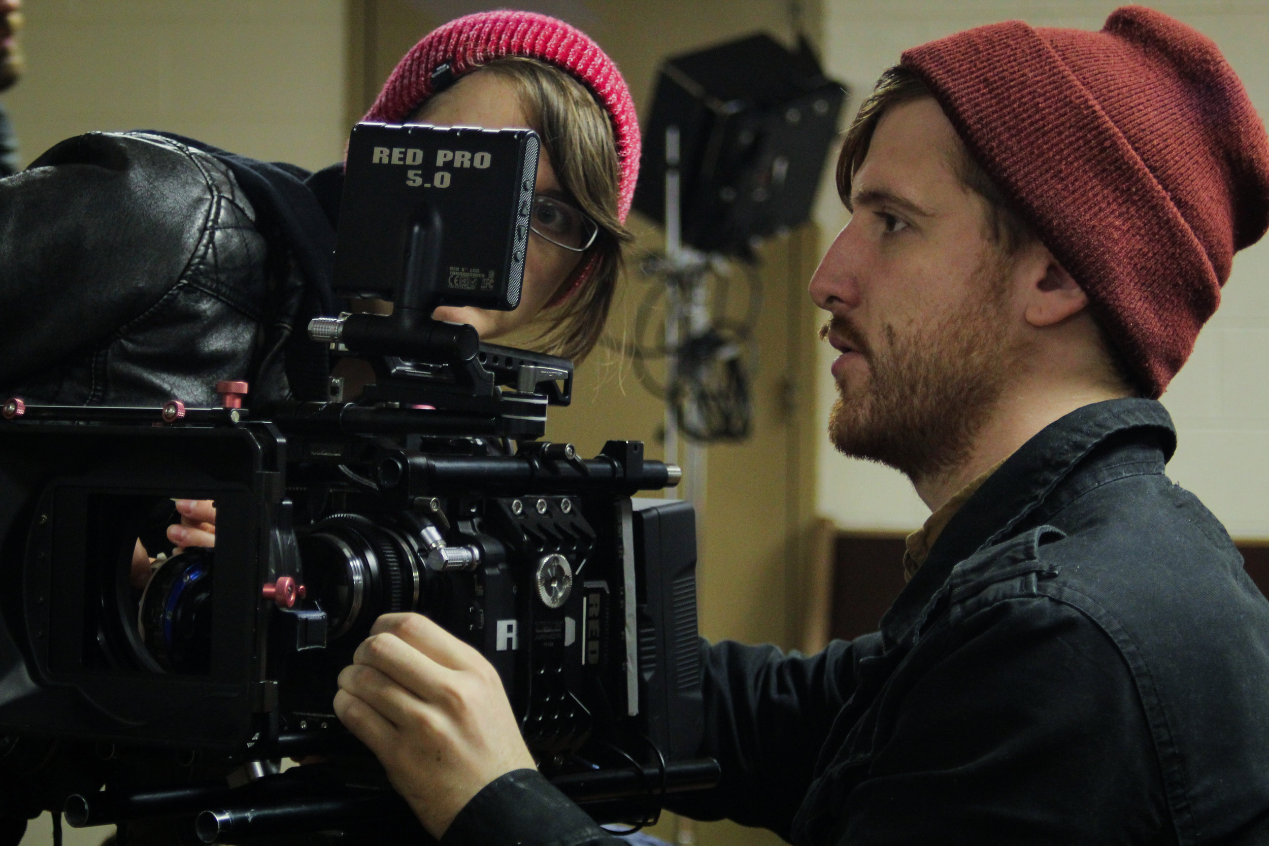 1st AC Tabitha Kennedy (Left) and DP Jacob Midkiff (Right) on the set of Pasture