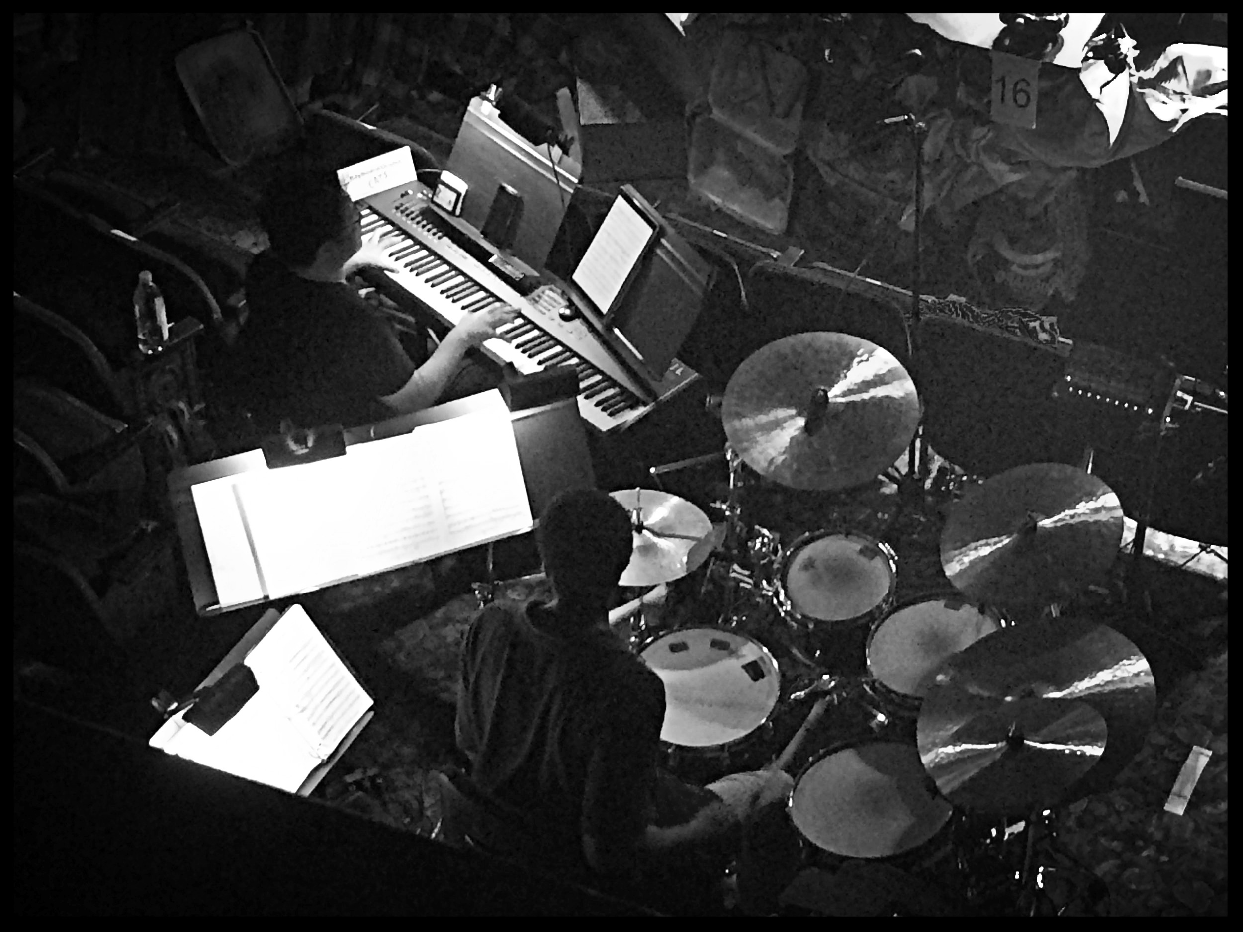 Ming Aldrich-Gan (keyboard) and Bill Lanham (drums) Cats Technical Rehearsal / Neil Simon Theatre July 2016  photo credit : Christopher Gurr