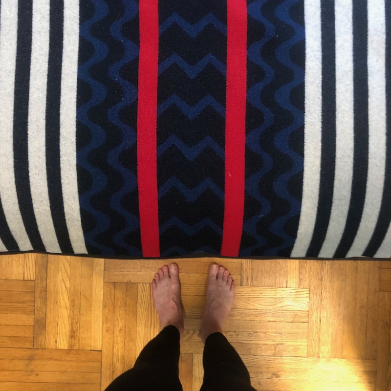 My very first Pendleton blanket, purchased in Pendleton, OR, during the first national tour of  Spamalot.  It's still at the foot of my bed.