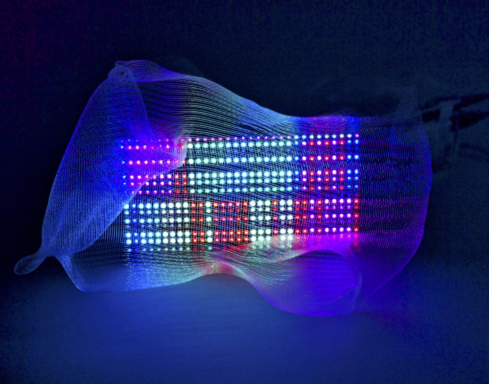 Untitled Electric Two 2014  Plain woven monofilament, LED board, micro controller, and other electronic components.