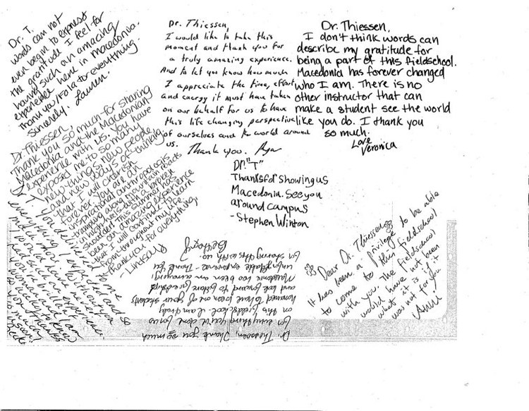 Thank you card rom the Field School students 2008