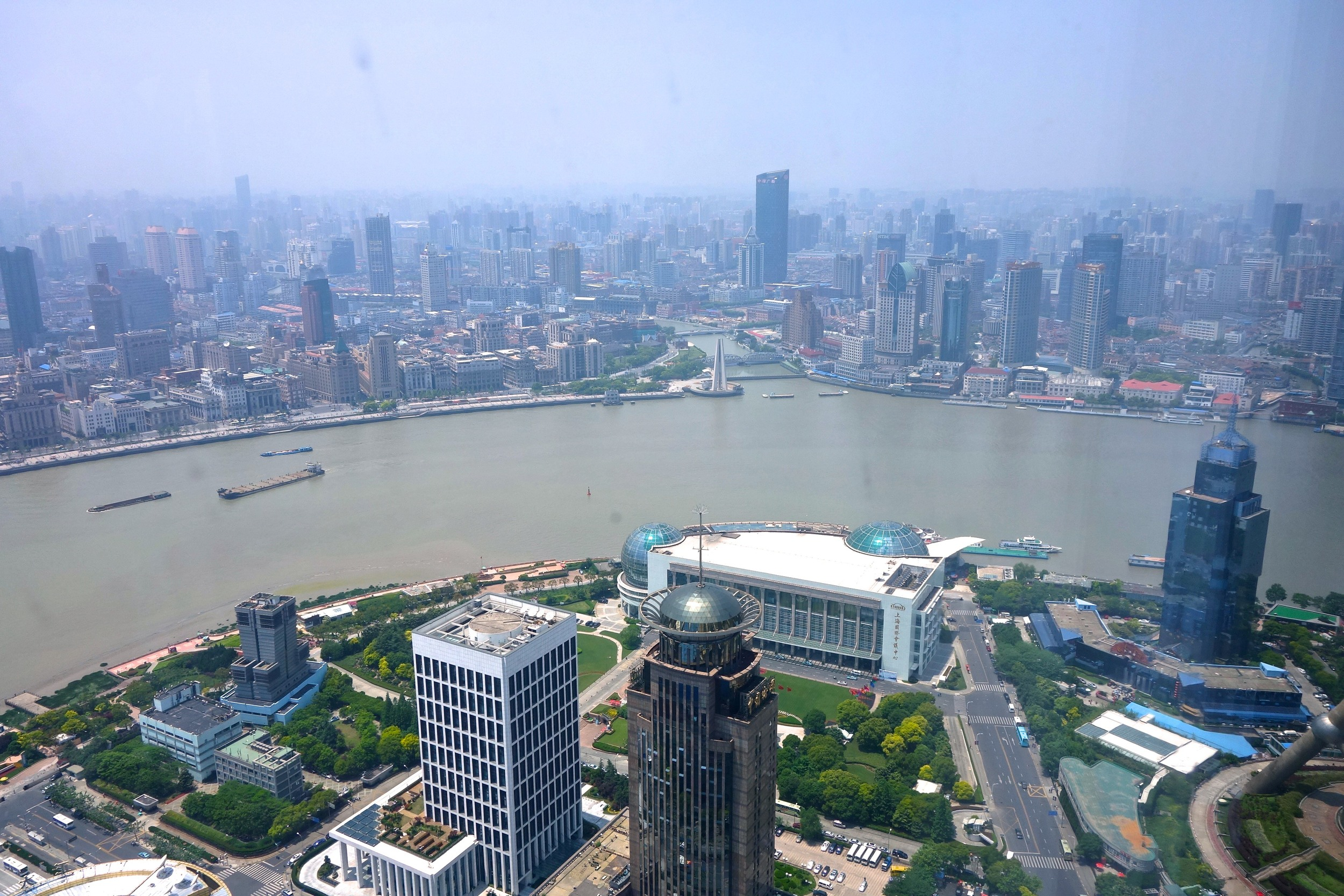 View of the bund and Puxi side from the restaurant