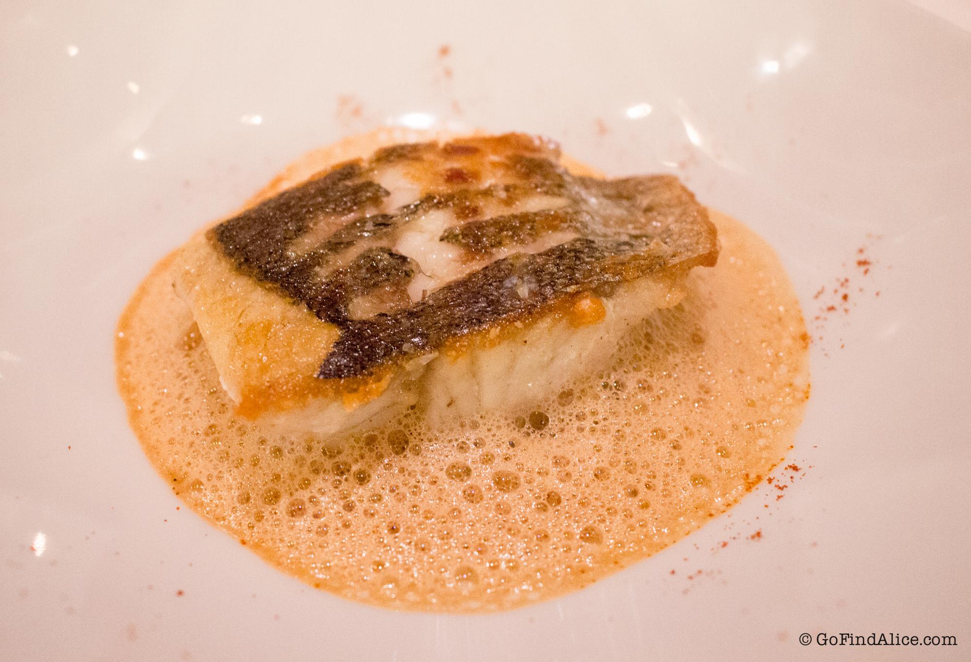 Pan roasted sea bass with lobster emulsion [嫩煎鲈鱼配龙虾泡沫汁]