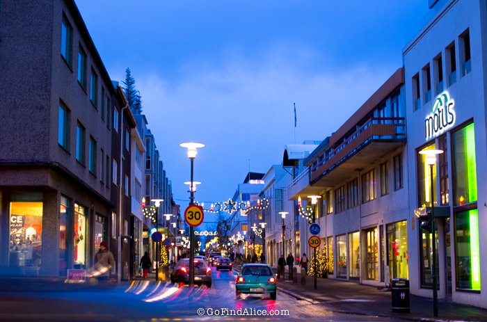 Downtown Reykjavik by night