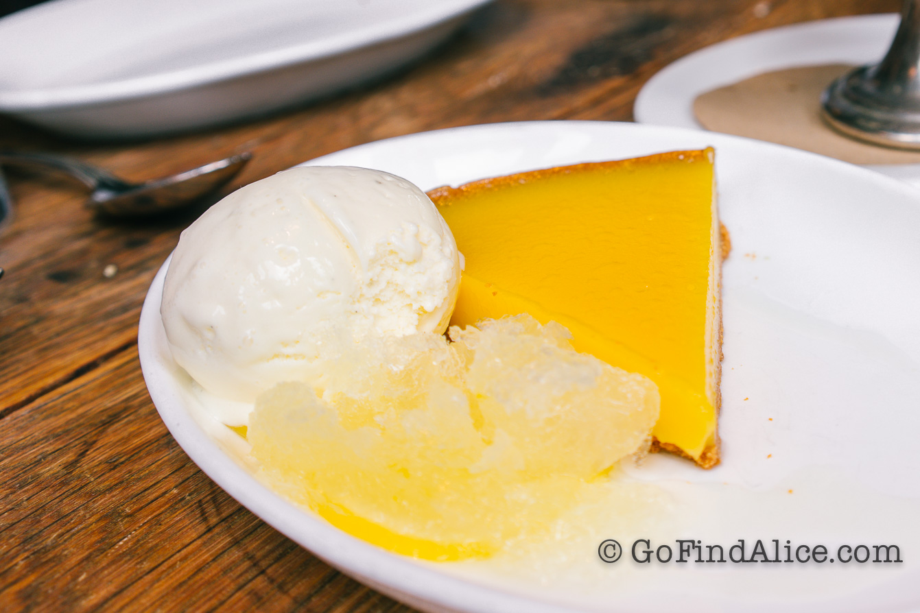 Lemon Tart with limoncello granita, buttermilk gelato