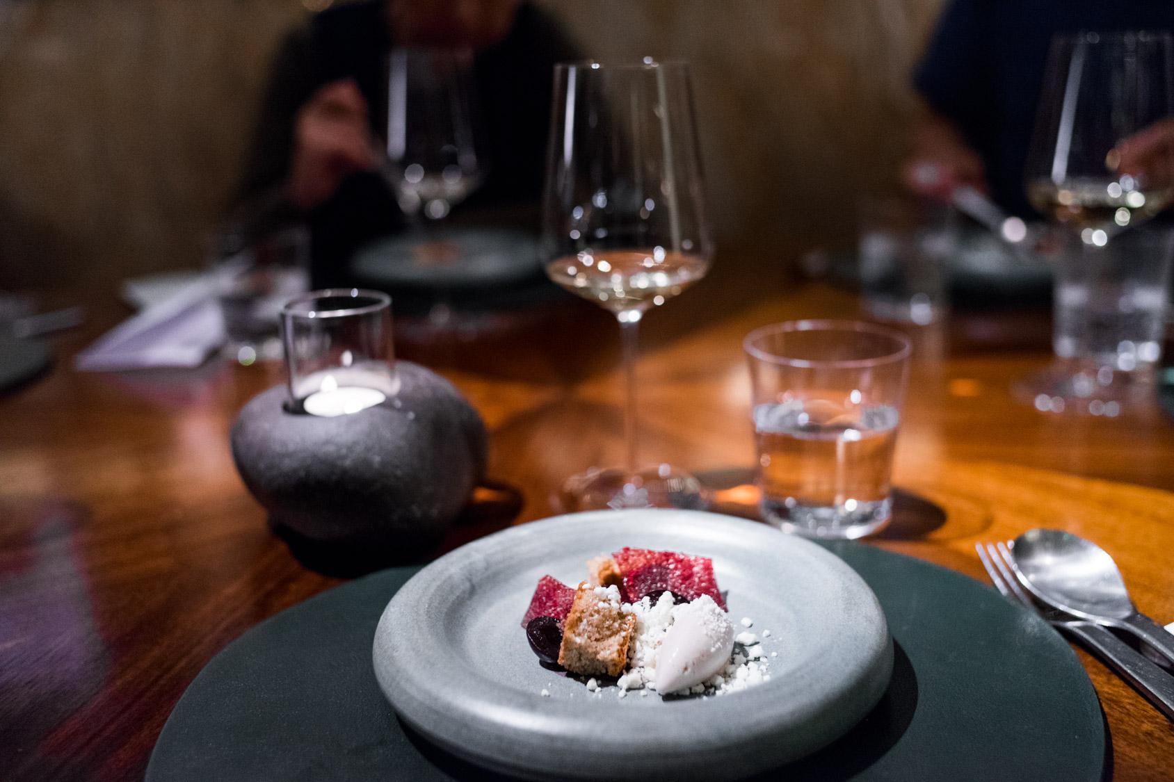 Meadowsweet cake, cherries, pine and sheep's yoghurt
