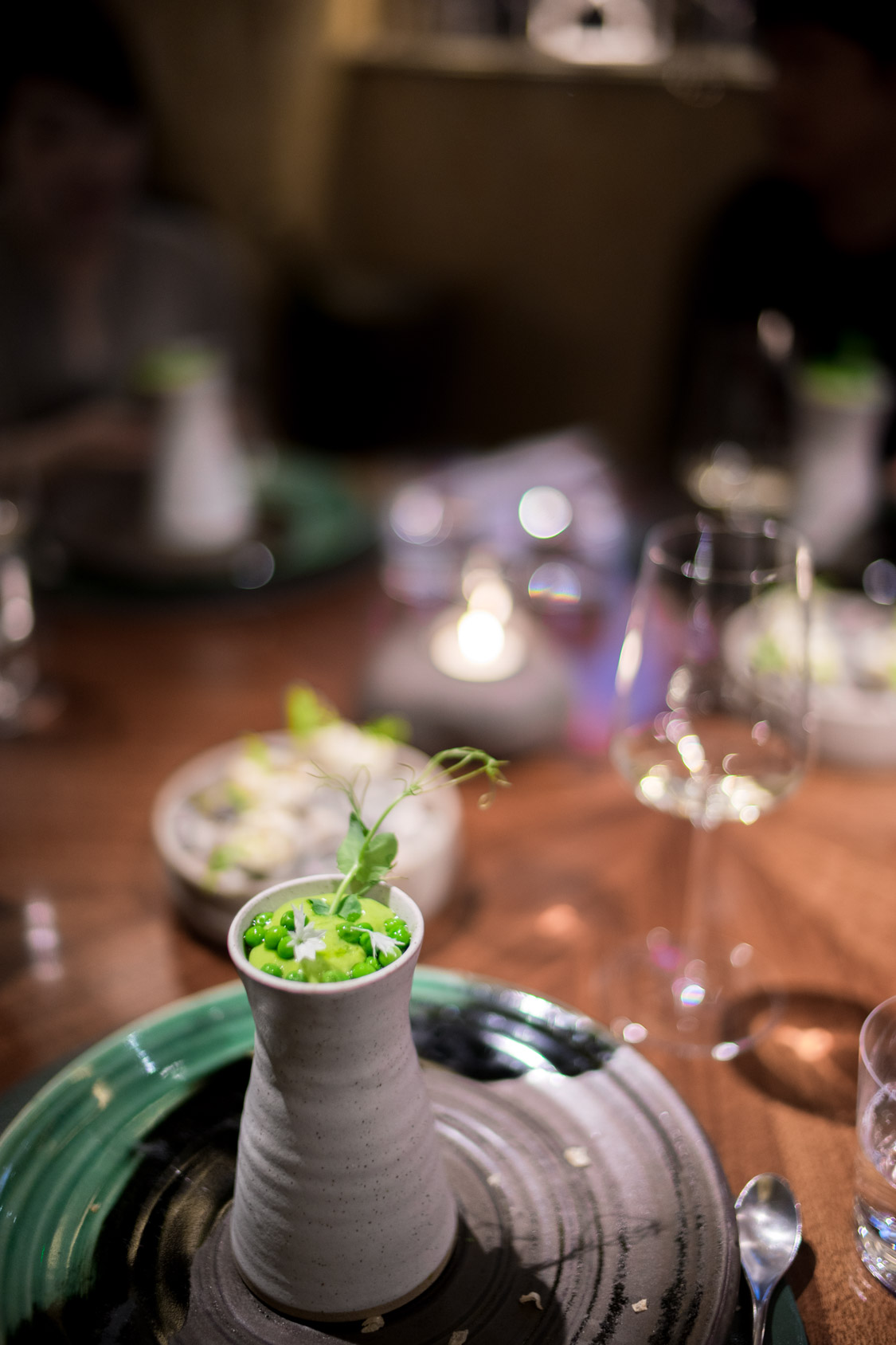 Pea mousse with cod and calamint