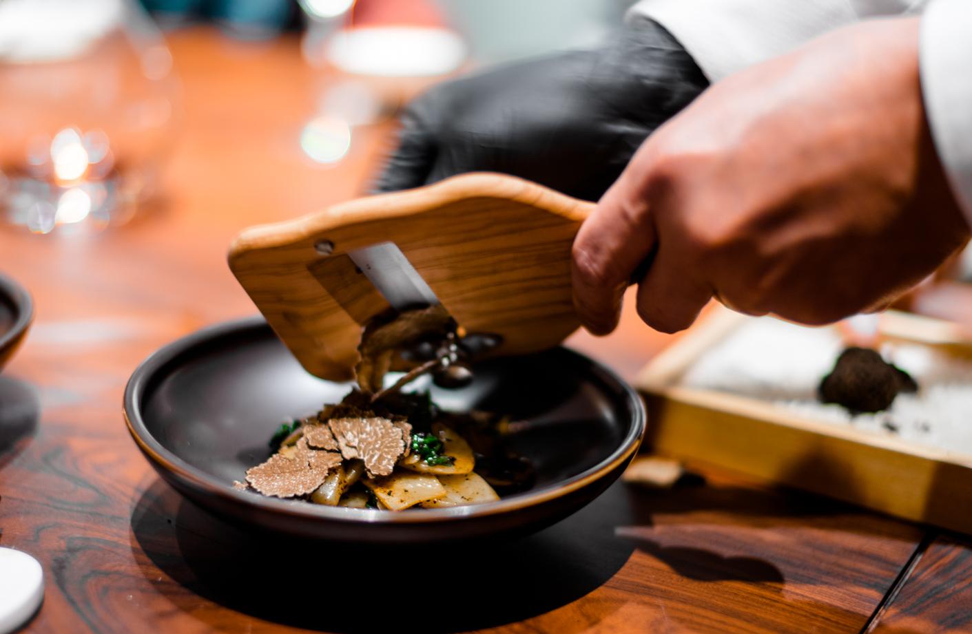 """Truffle"" (   松露 ) glutinous rice cakes;  garden greens, bamboo shoots and BLACK TRUFFLES"