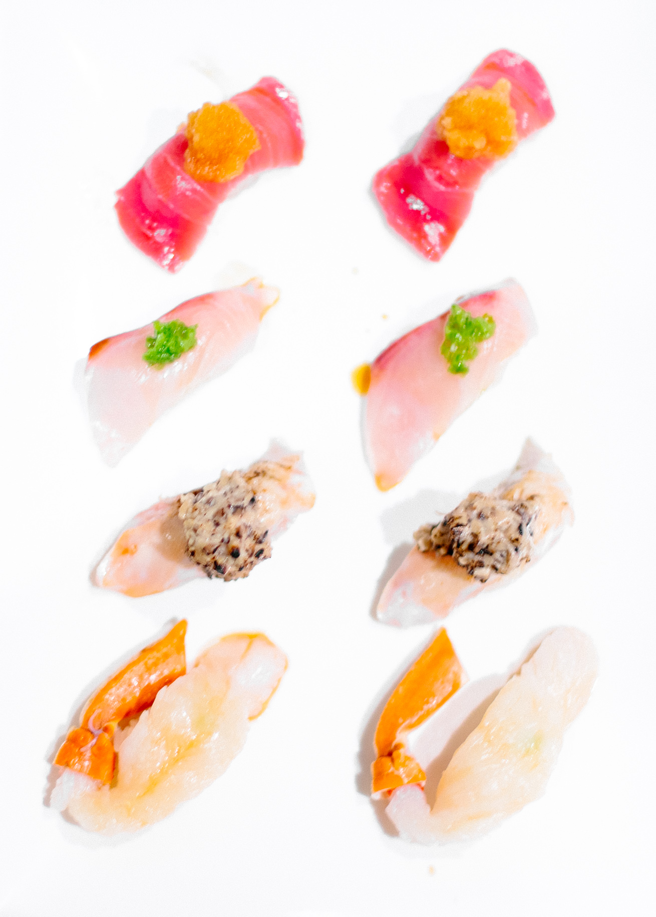 Bottom to top:   Snow Crab / Sautéed Kingfish  with creamy mushroom  / Baby Yellowtail  with jalapeño  / Toro  with ponzu soaked radish