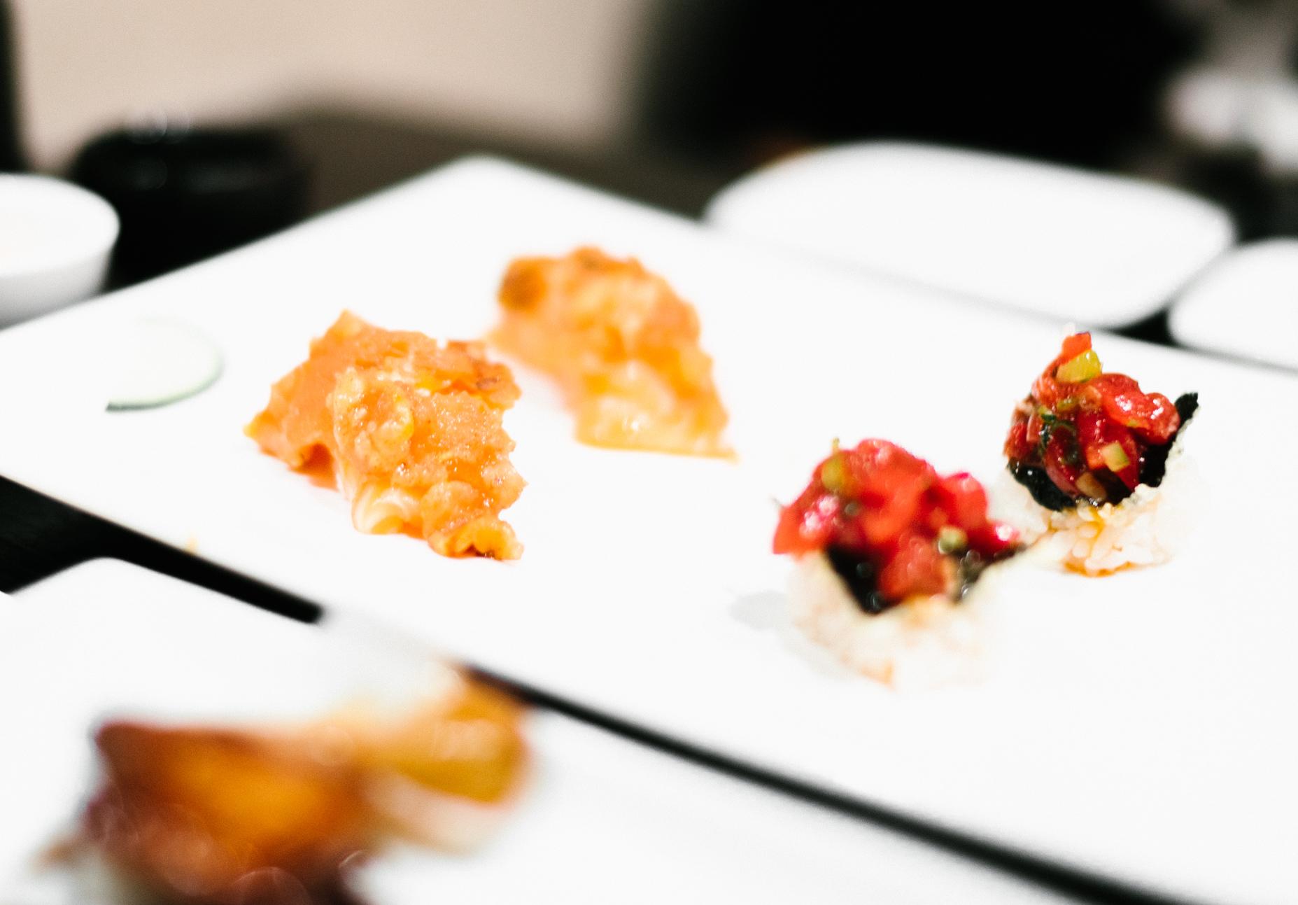 Salmon Sautéed Tomato / Korean Sweet Sauce Marinated Tuna  with roasted pine nuts and nori seaweed