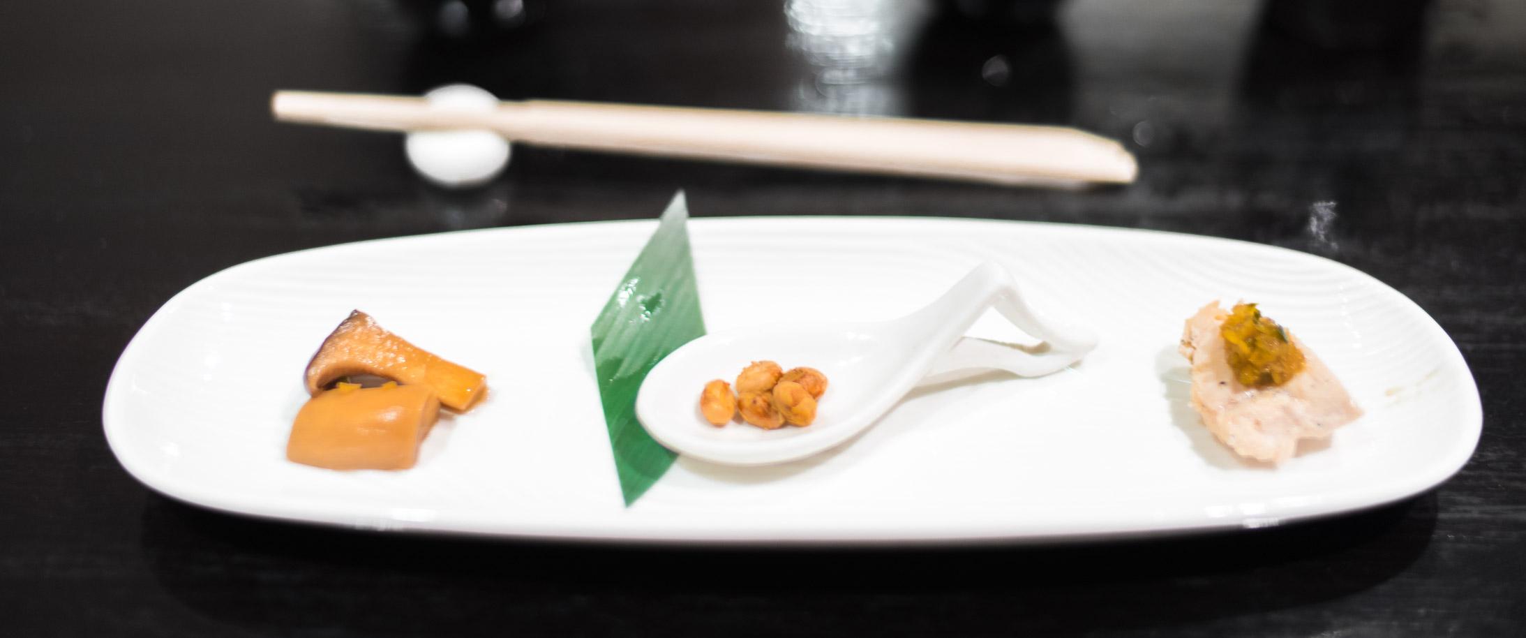 Amuse Bouche  - Mushroom with sweet soy and ginger, garlic oil chicken tenderloin, Sasabune-festival inspired soybeans