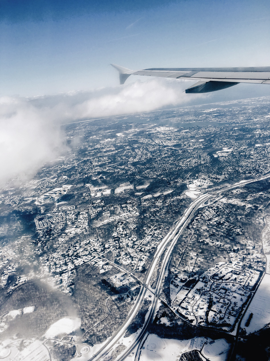 Flying over snowy New York