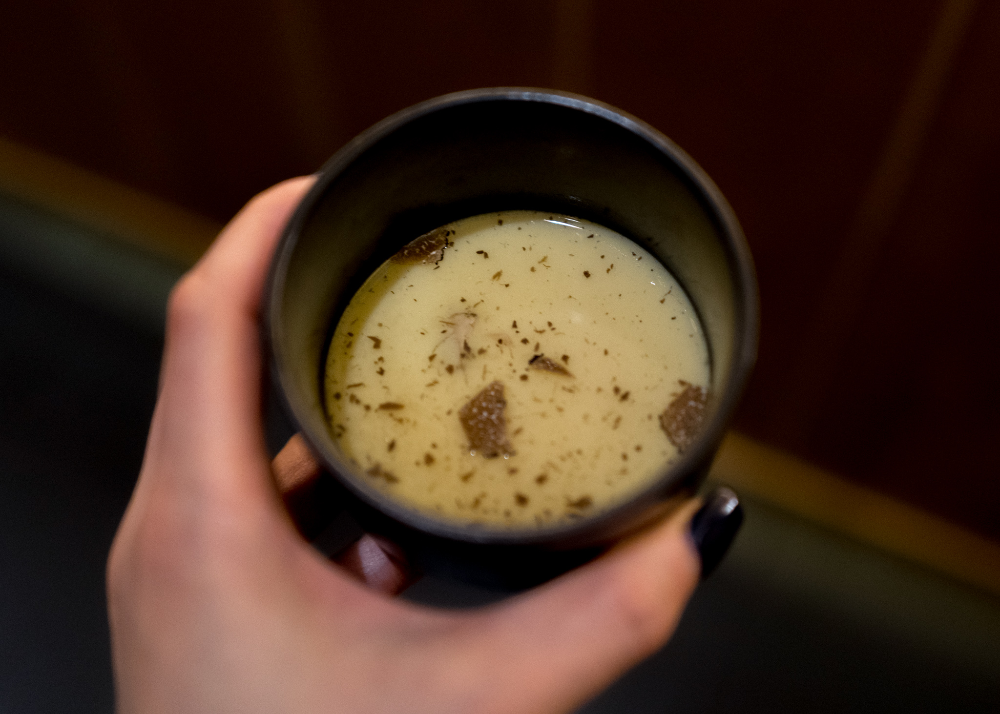 (2) Chawanmushi with Burgundy Truffle, gingko nuts and chicken breast
