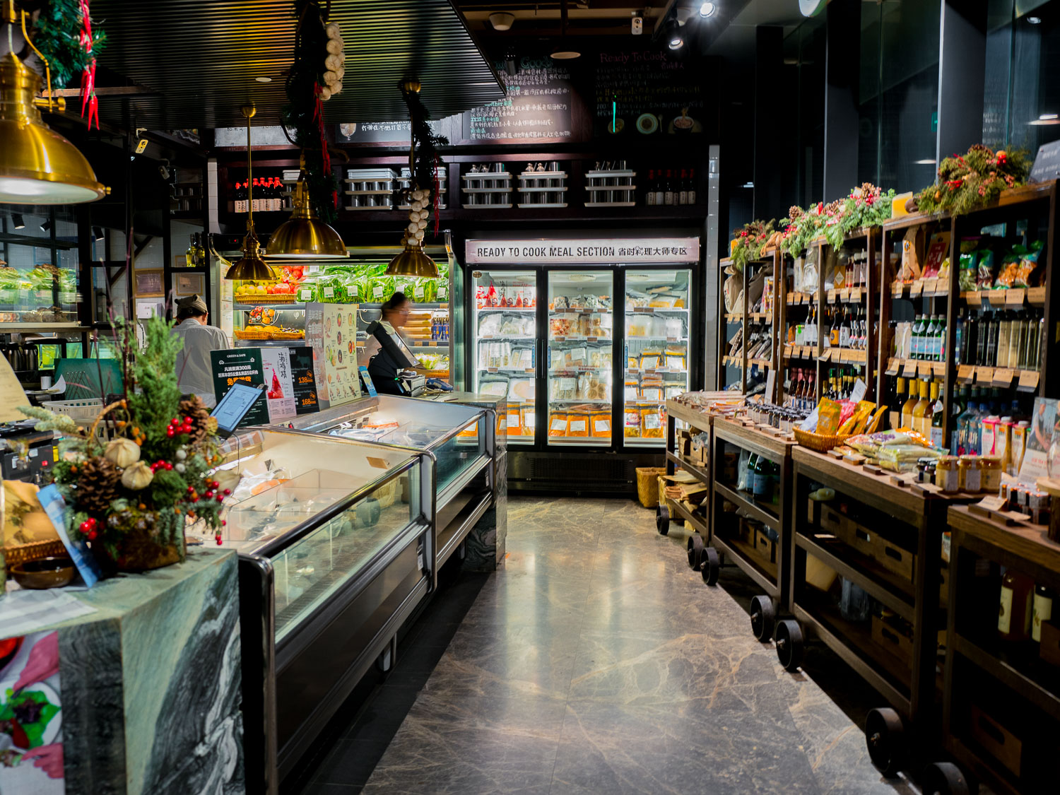 Qimin's Organic Produce & Products Market inside the Restaurant (lots of products from Green & Safe)