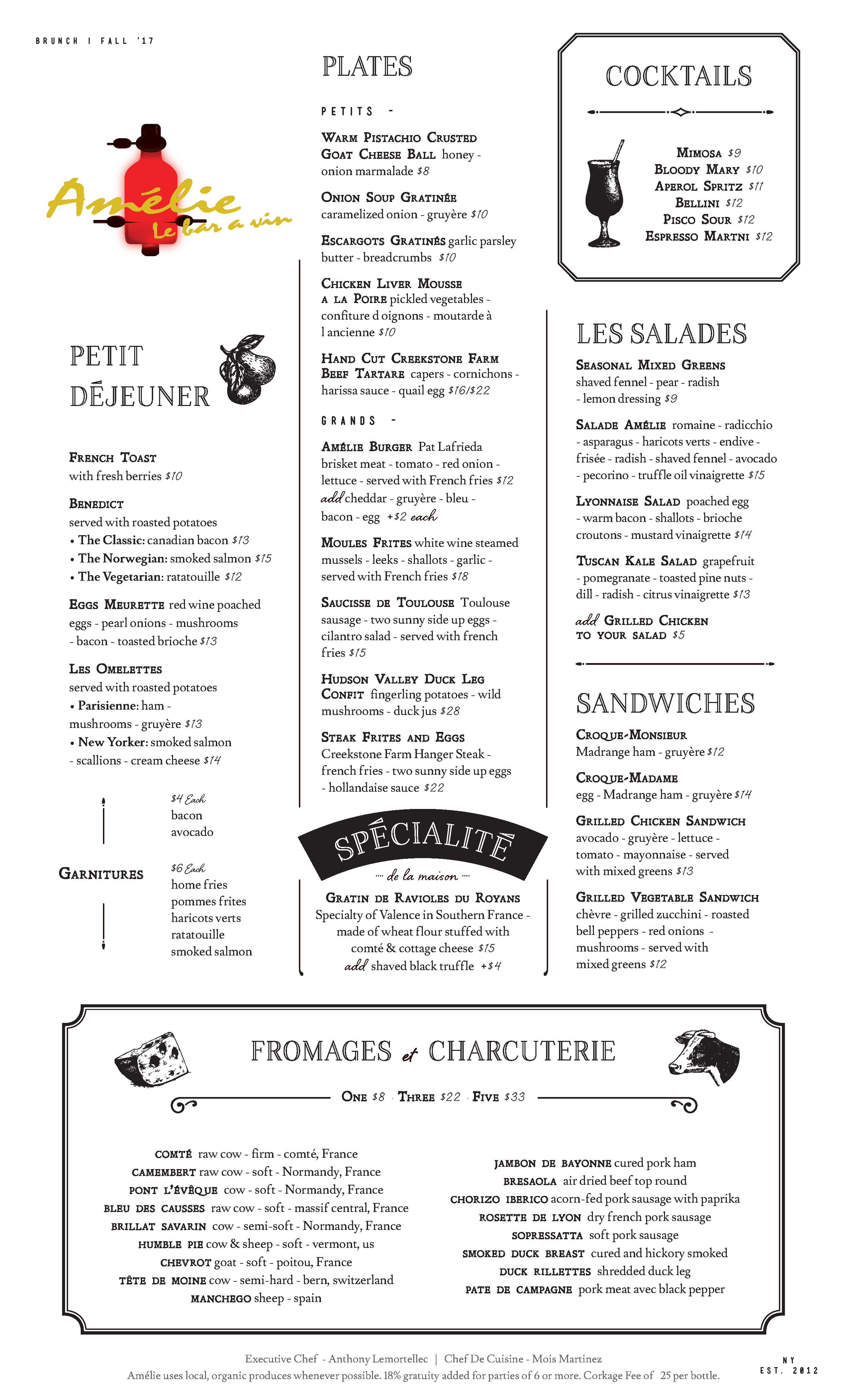 Amelie's Brunch Menu as of Nov 2017, but the menu was the same when I went in April 2018
