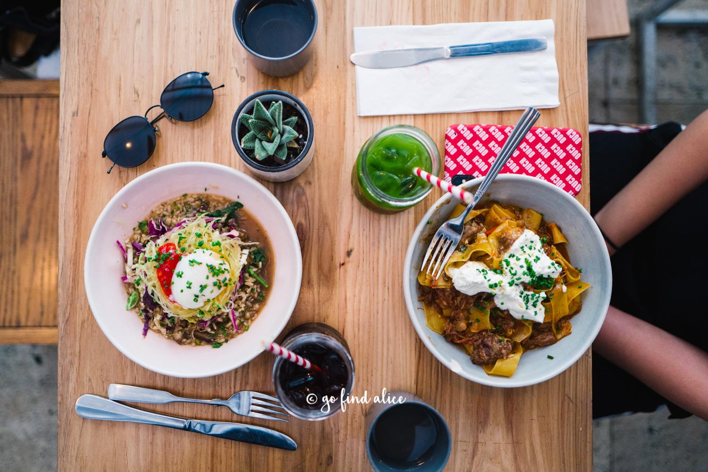 Left:  Breakfast Bowl / $14  Right:  Lamb Ragu Pappardelle  with burrata & tomato sauce  /$15