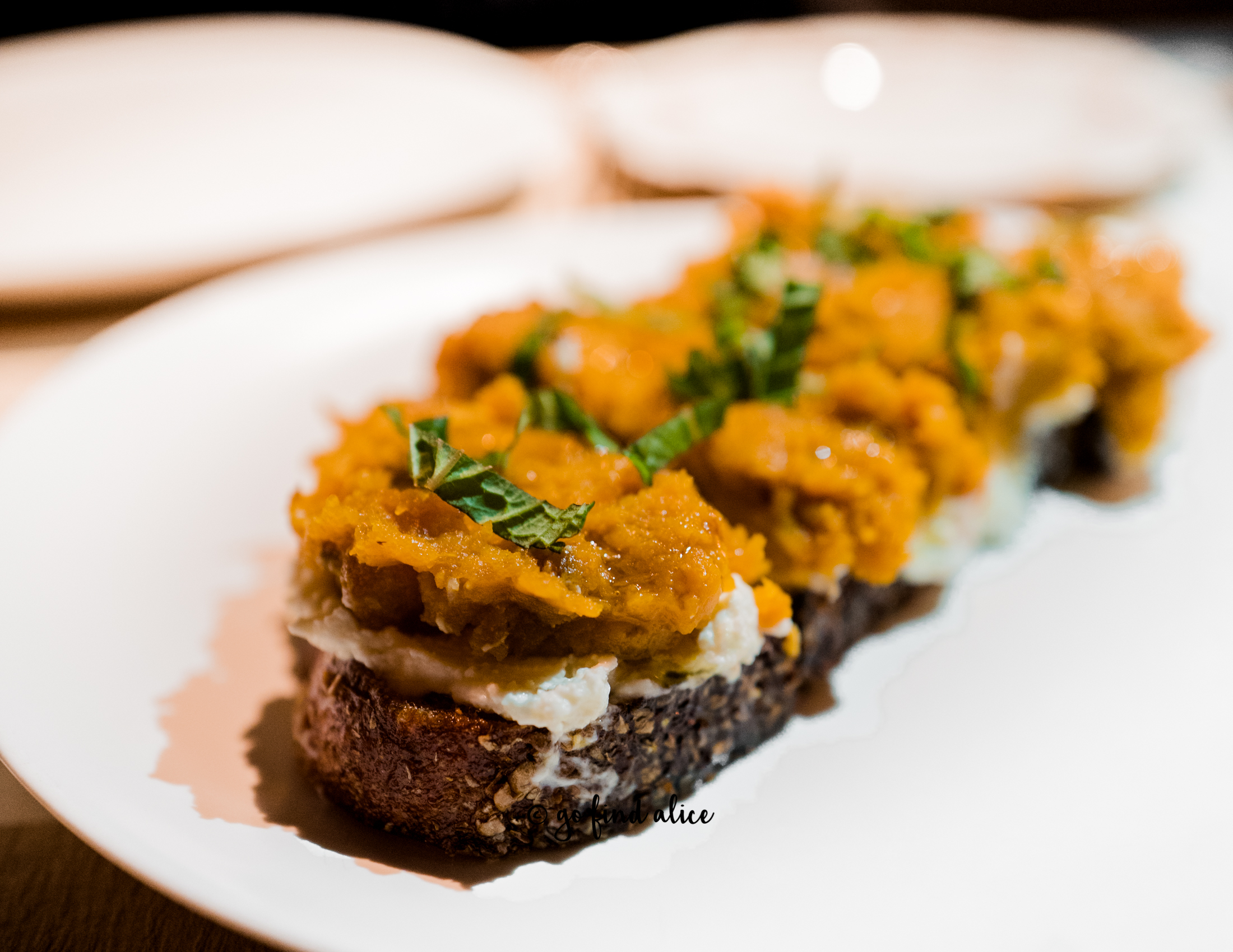 ROASTED KABOCHA SQUASH TOAST, FRENCH RICOTTA CHEESE, APPLE CIDER VINEGAR ($15)   This was a seasonal special and was my FAVORITE dish of the night! Savory and sweet, this was the perfect embodiment of Autumn. A must order!