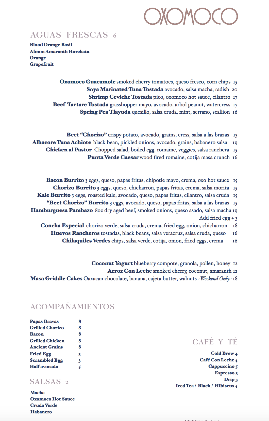 Oxomoco's Menu as of March 2019